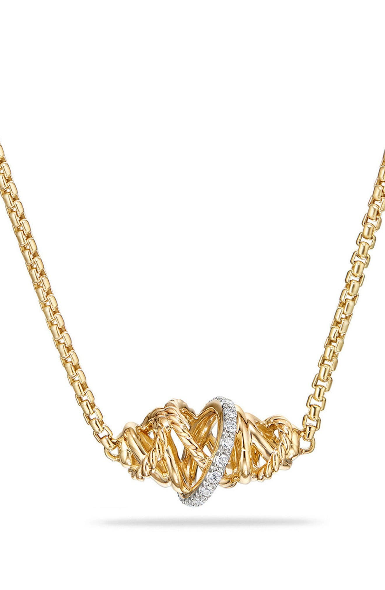 Crossover Station Necklace in 18K Gold with Diamonds,                         Main,                         color, Yellow Gold/ Diamond