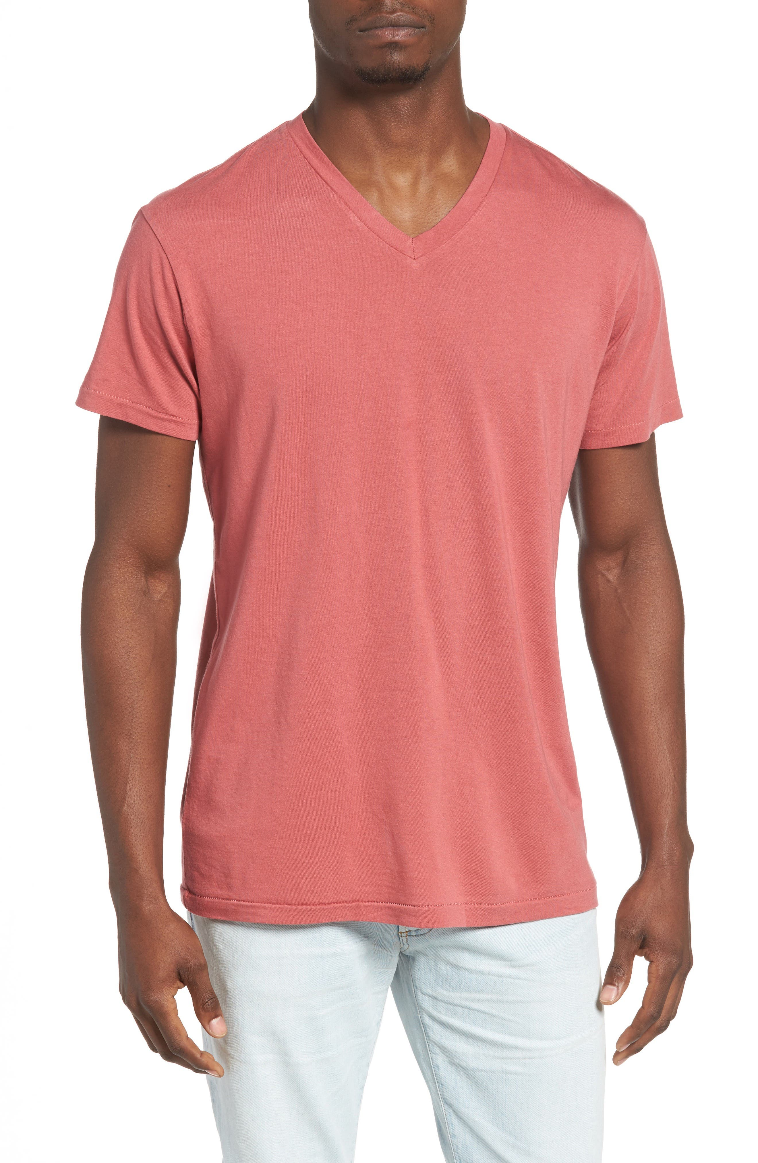Essential V-Neck T-Shirt,                             Main thumbnail 1, color,                             Terra