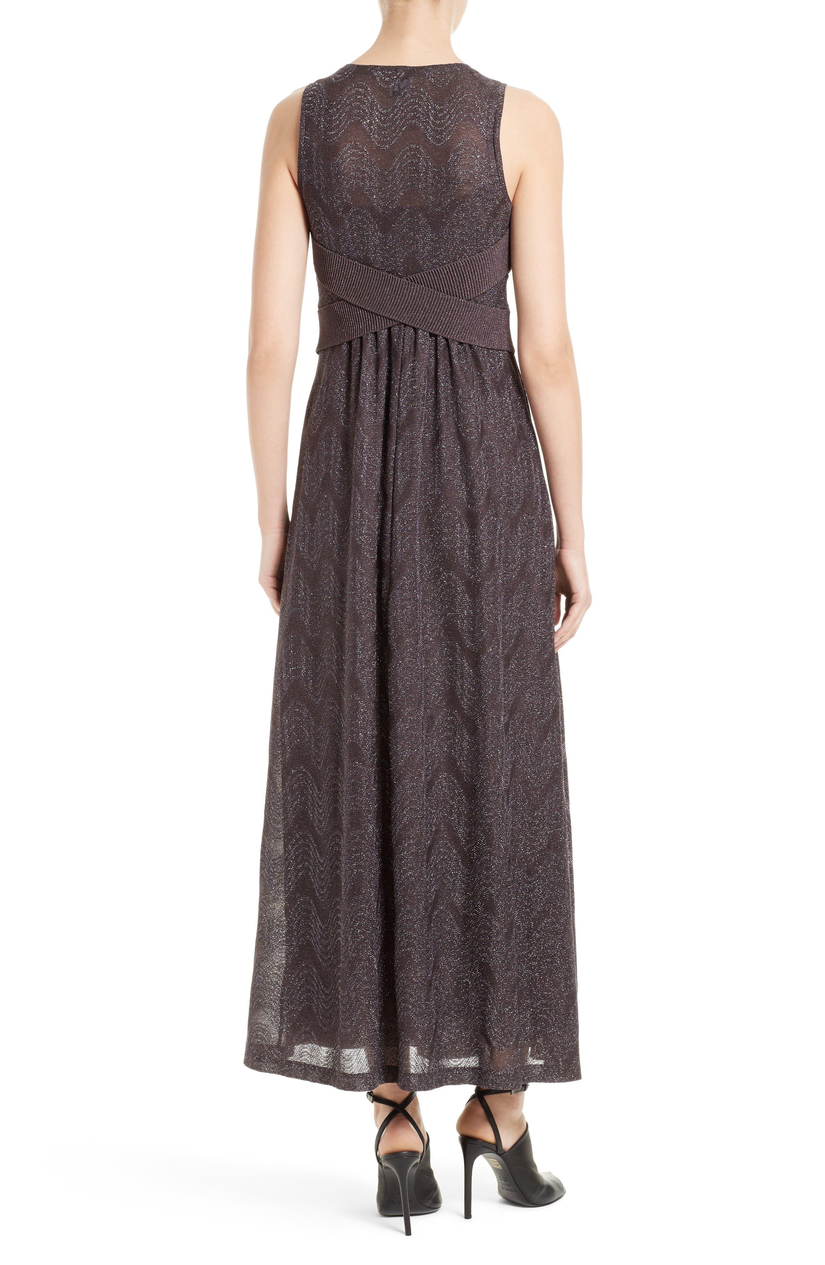 Metallic Maxi Dress,                             Alternate thumbnail 2, color,                             Eggplant