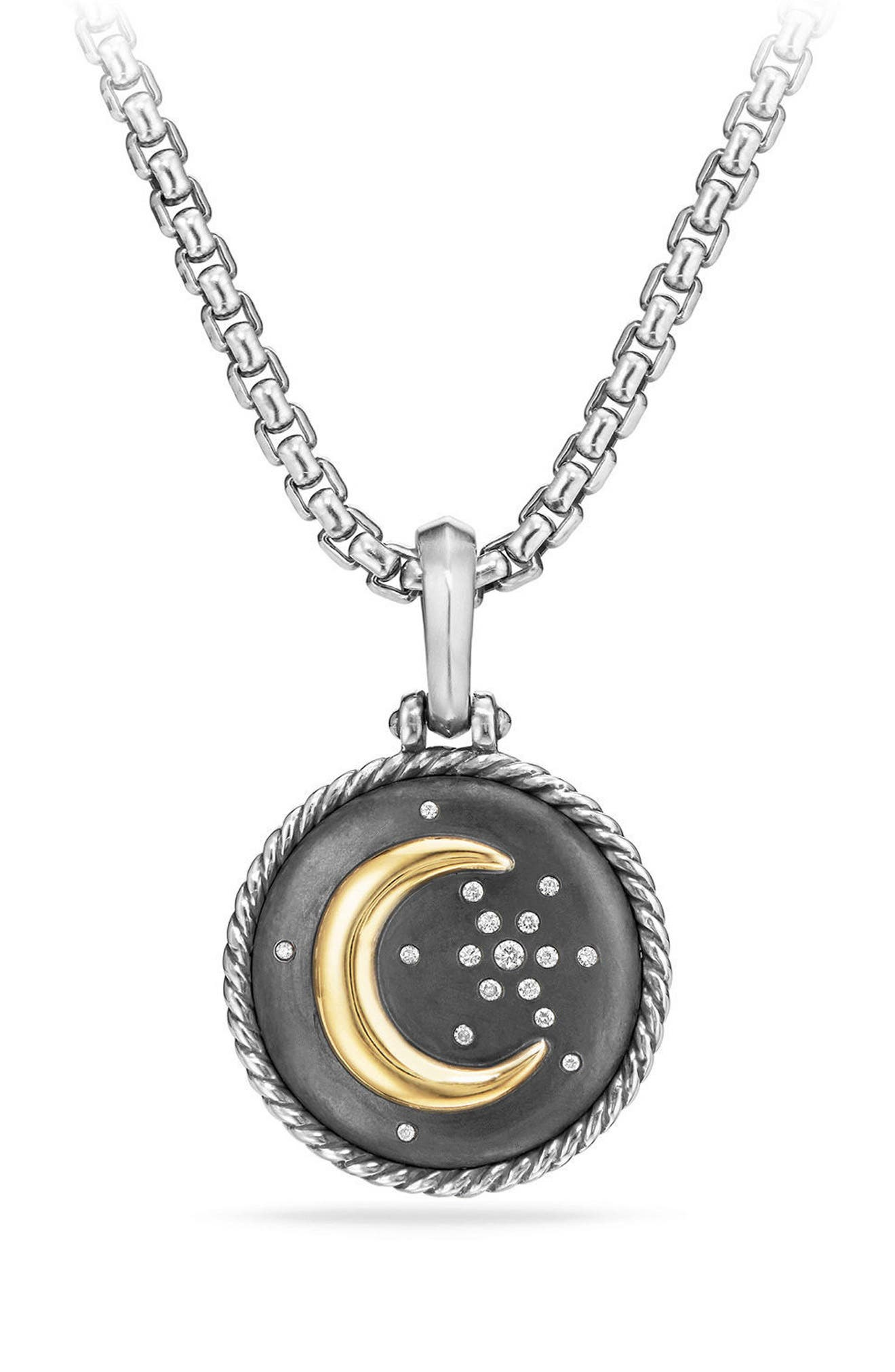 Moon & Star Amulet with Diamonds & 18K Gold,                             Main thumbnail 1, color,                             Silver/ Diamond