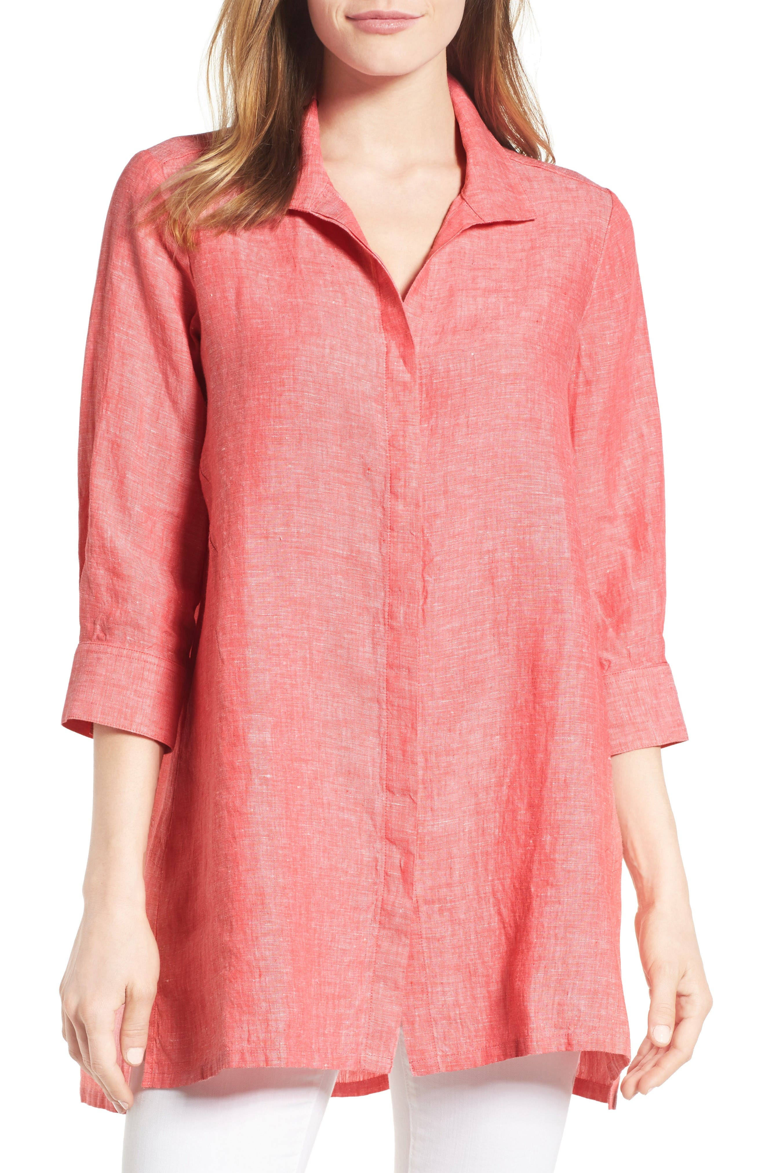 Foxcroft Chambray Linen Tunic (Regular & Petite)