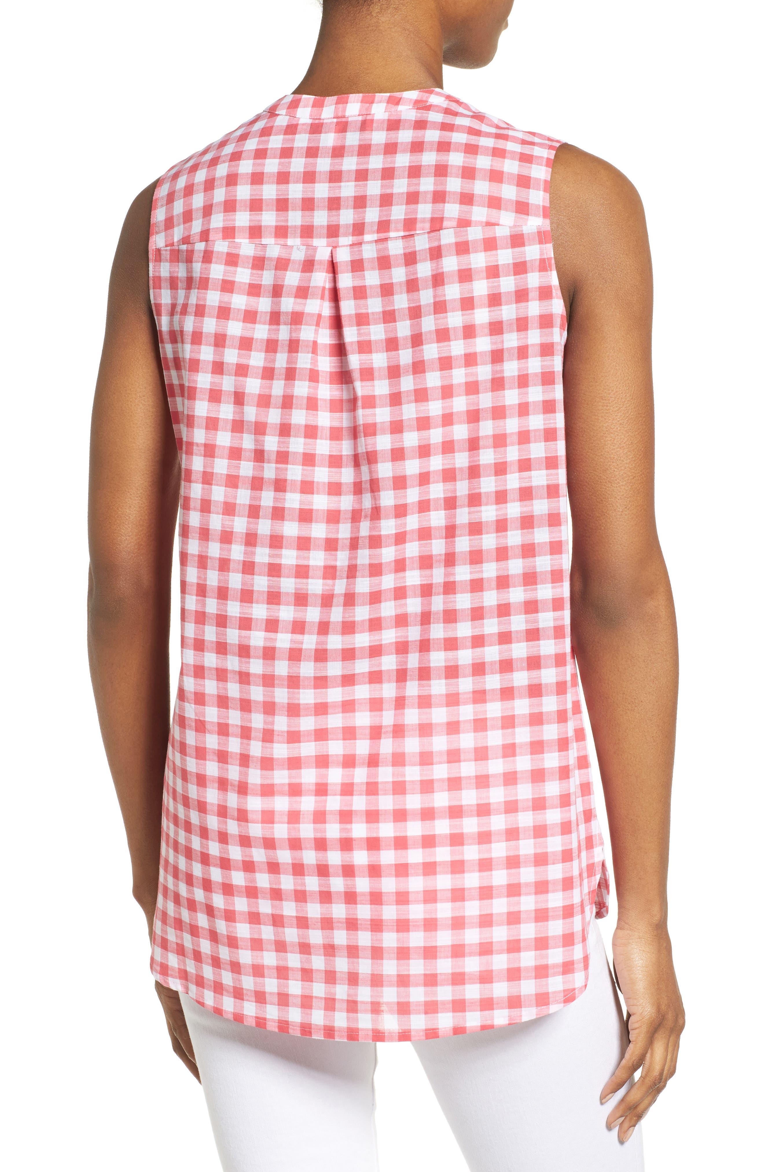 Alternate Image 2  - Foxcroft Gingham Sleeveless Shirt (Regular & Petites)