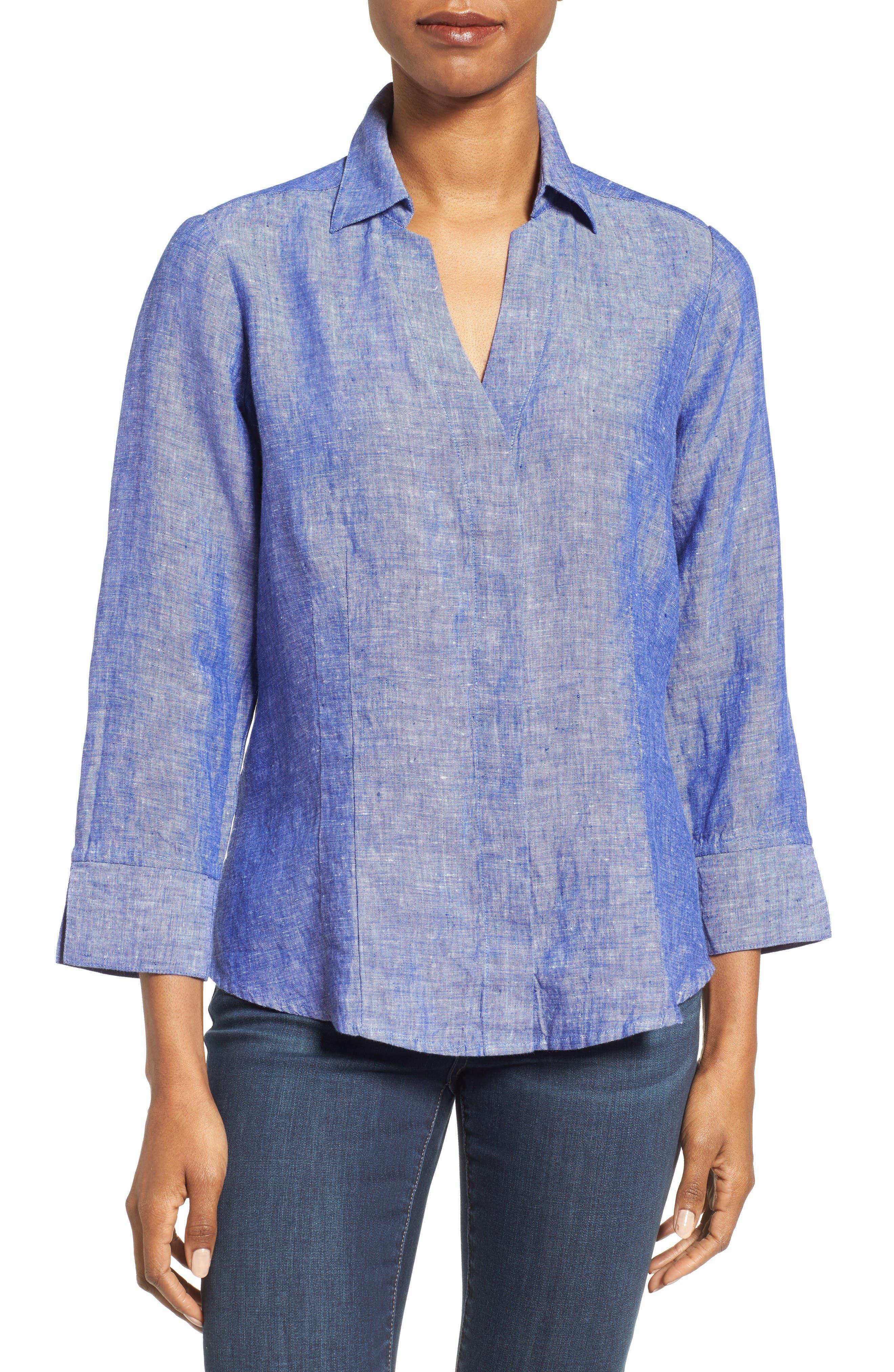Linen Chambray Shirt,                             Main thumbnail 1, color,                             Blue Lagoon