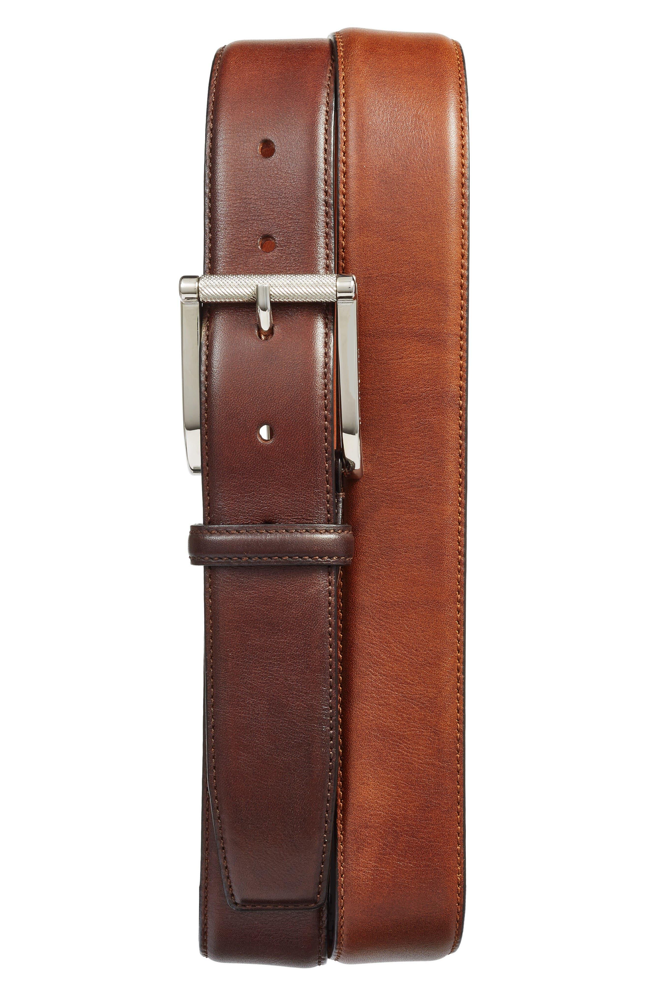 Main Image - Santoni Hand Antiqued Leather Belt