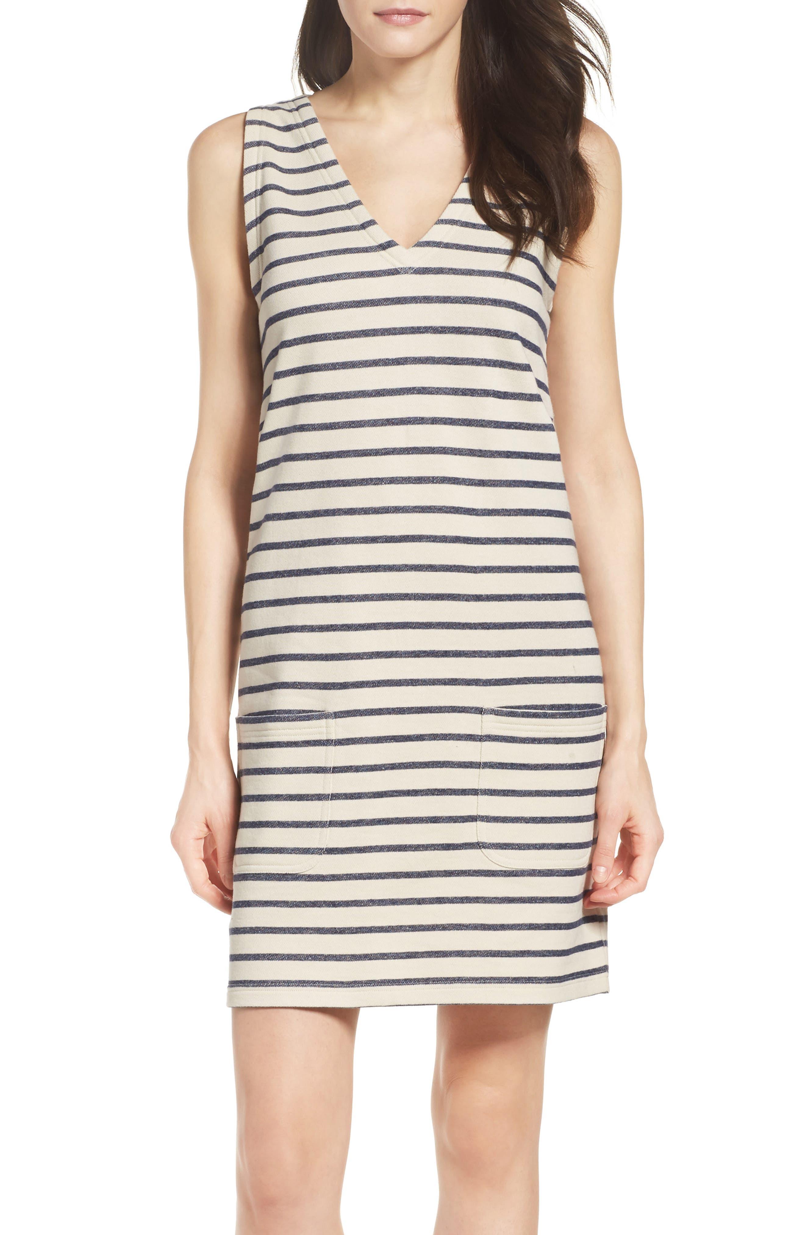 Normandy Stripe Dress,                             Main thumbnail 1, color,                             Brule/ Indigo