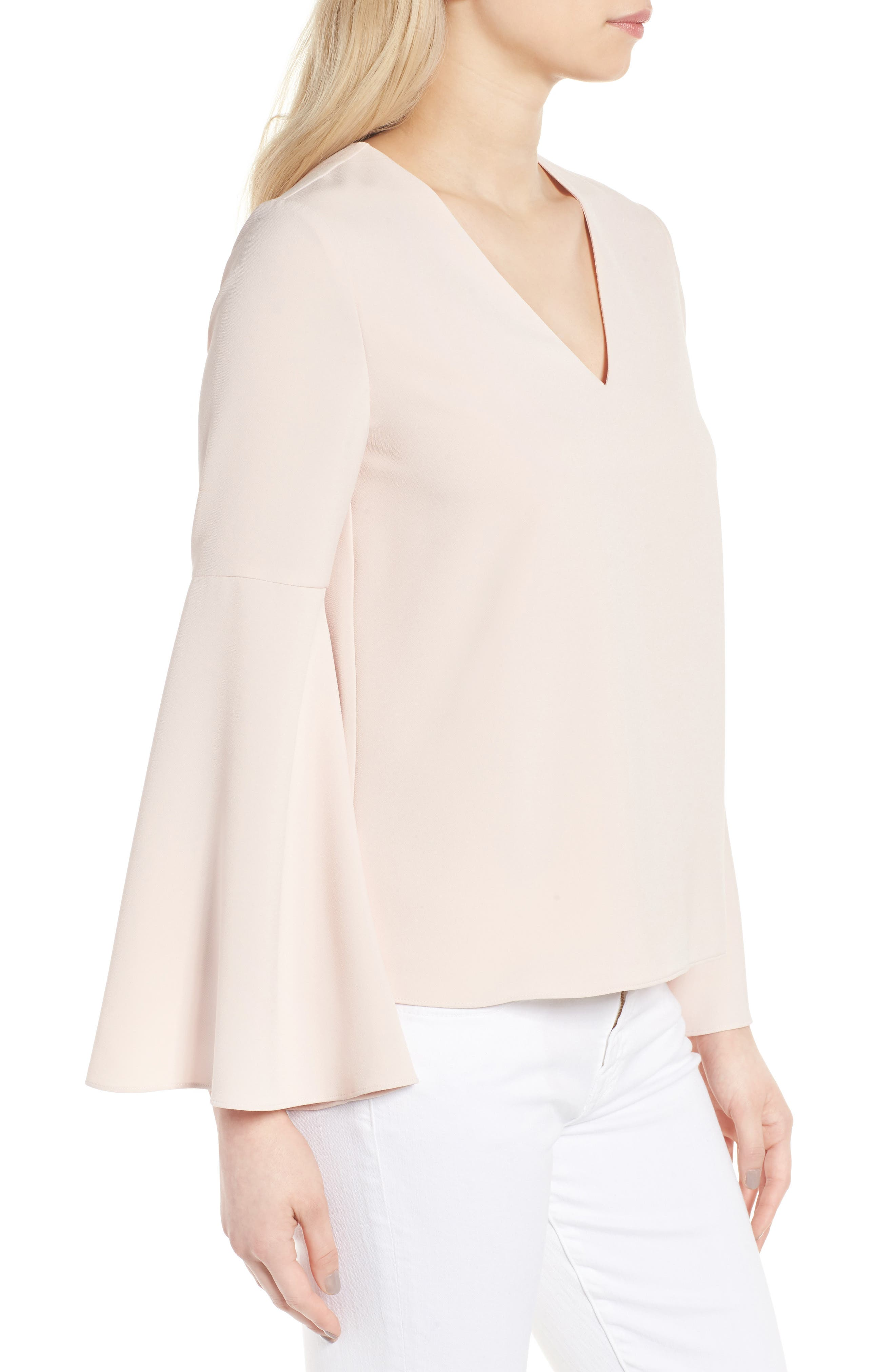 Marcela Bell Sleeve Top,                             Alternate thumbnail 3, color,                             Pale Pink