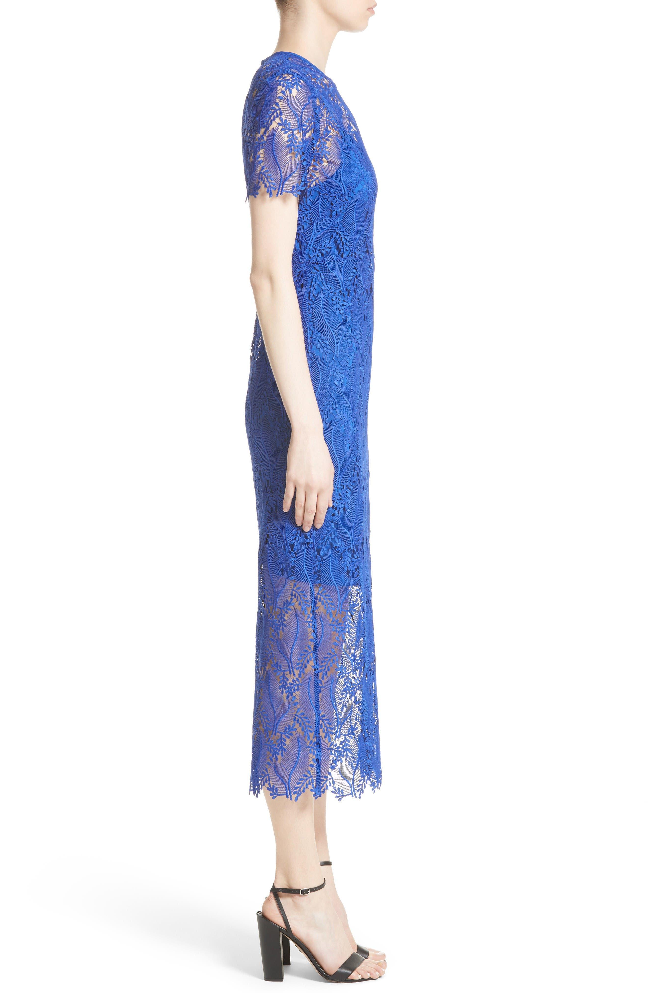 Lace Midi Sheath Dress,                             Alternate thumbnail 3, color,                             Klein Blue