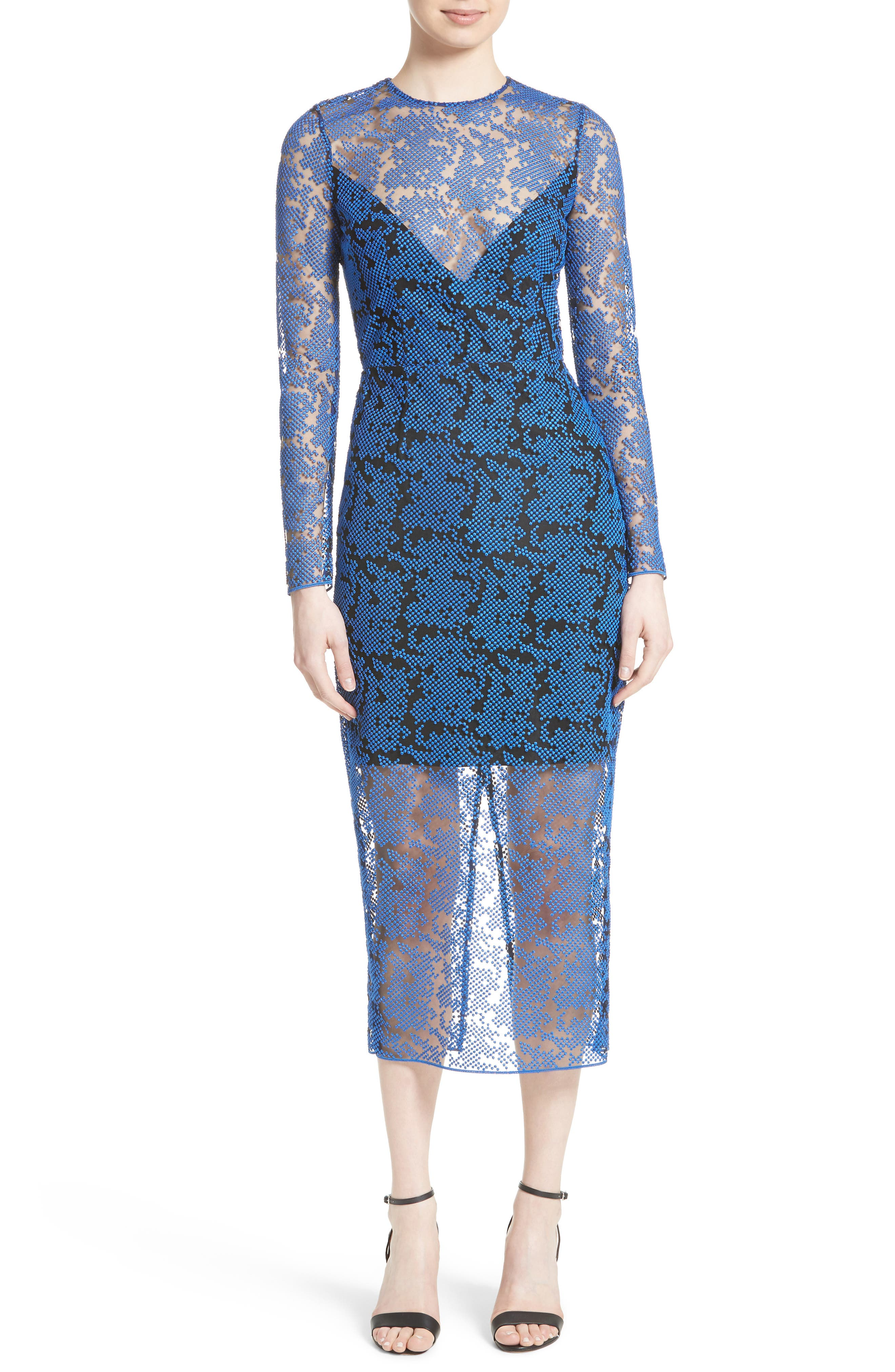 DIANE VON FURSTENBERG Embroidered Mesh Midi Dress