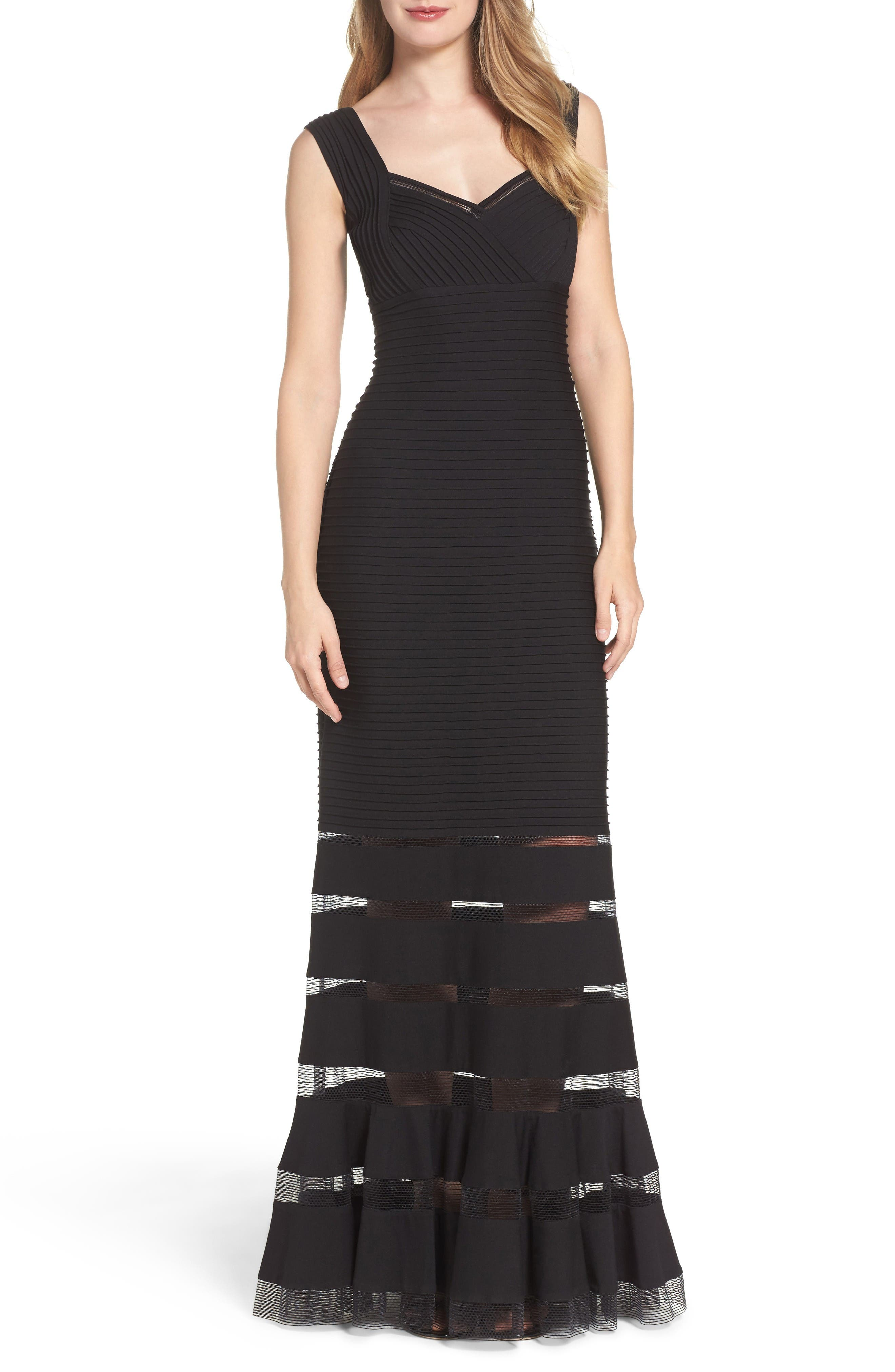 Mesh Inset Gown,                         Main,                         color, Black