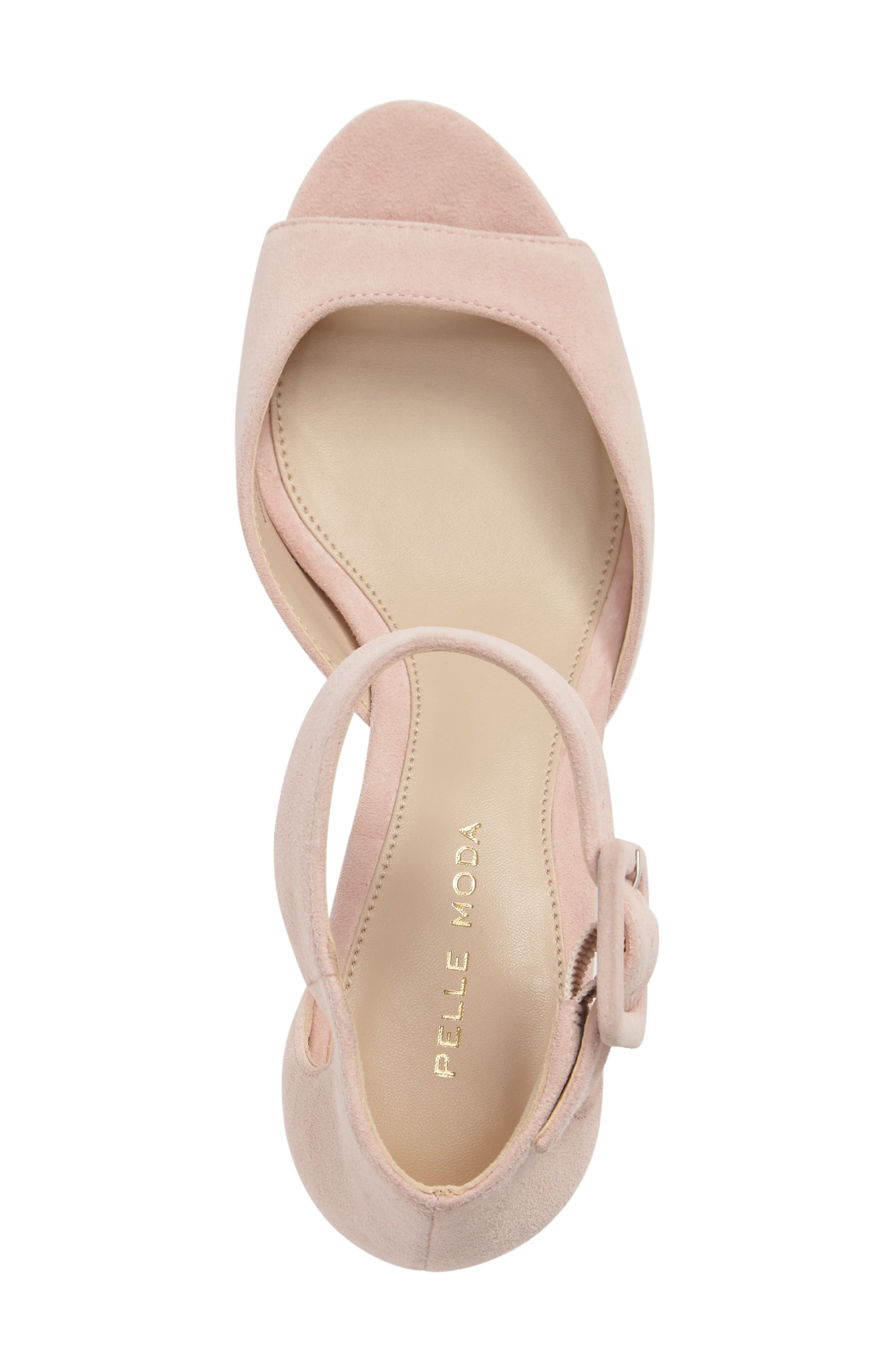 'Berlin' Ankle Strap Sandal,                             Alternate thumbnail 3, color,                             Pale Pink Leather