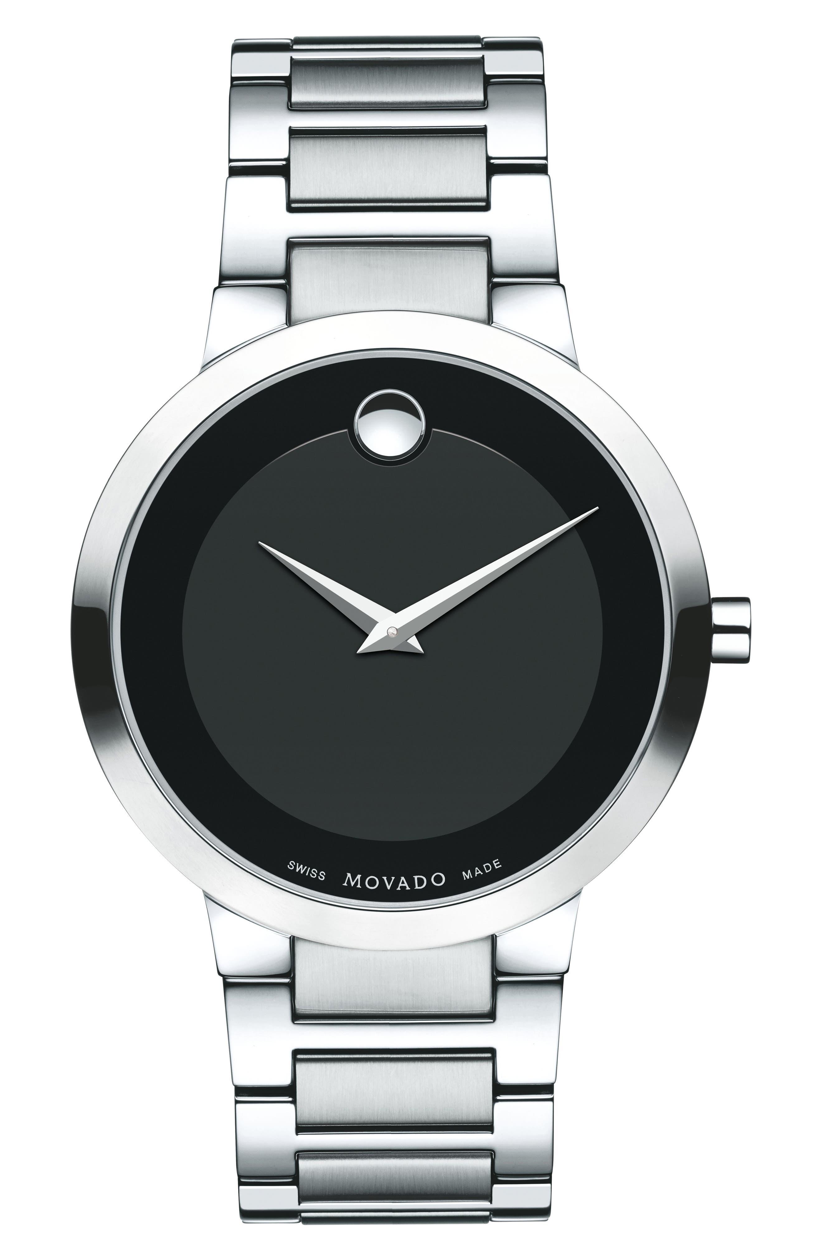 Modern Bracelet Watch, 39mm,                             Main thumbnail 1, color,                             Silver/ Black/ Silver