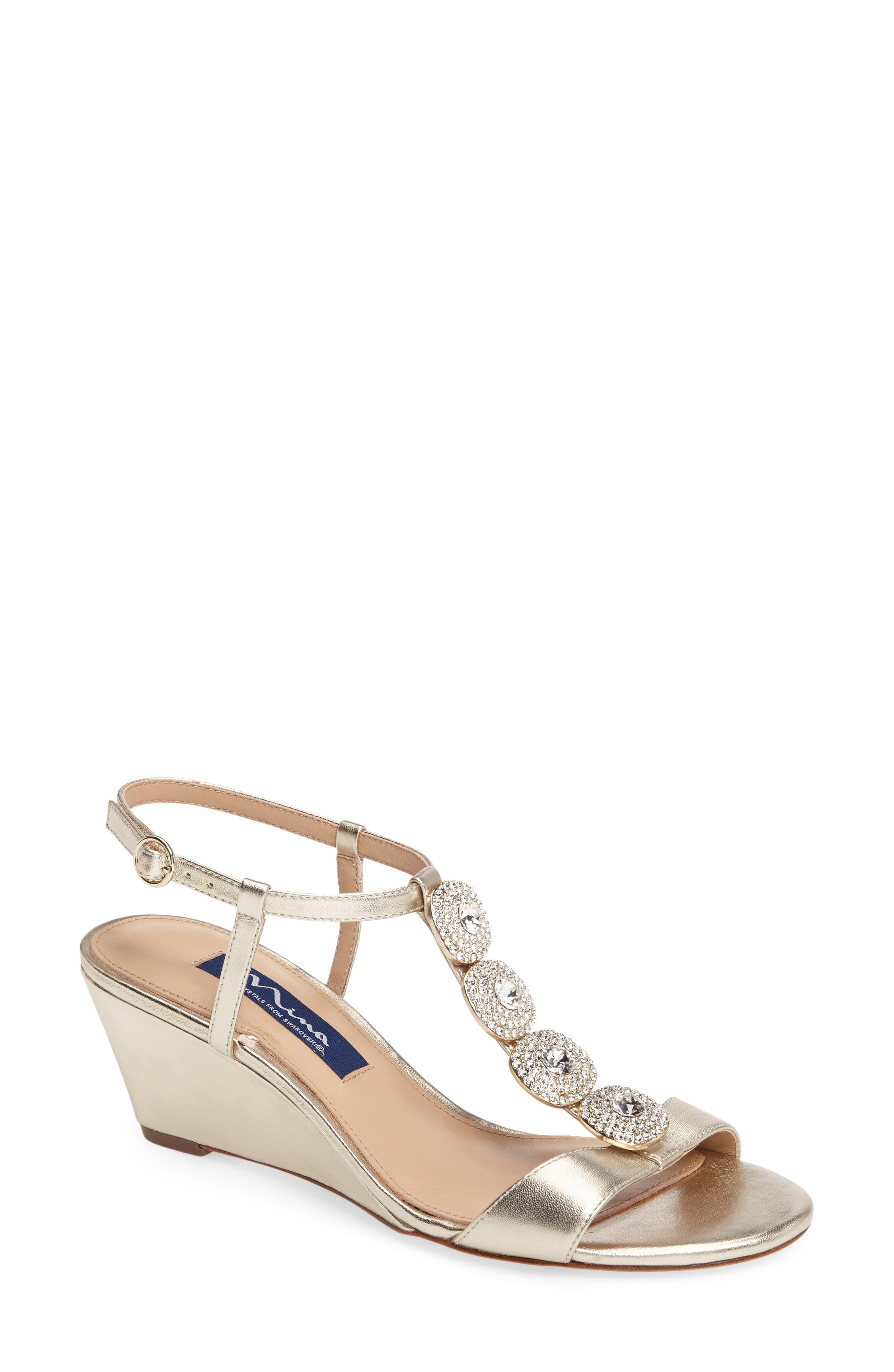 Nina Natania Swarovski Wedge Sandal (Women)