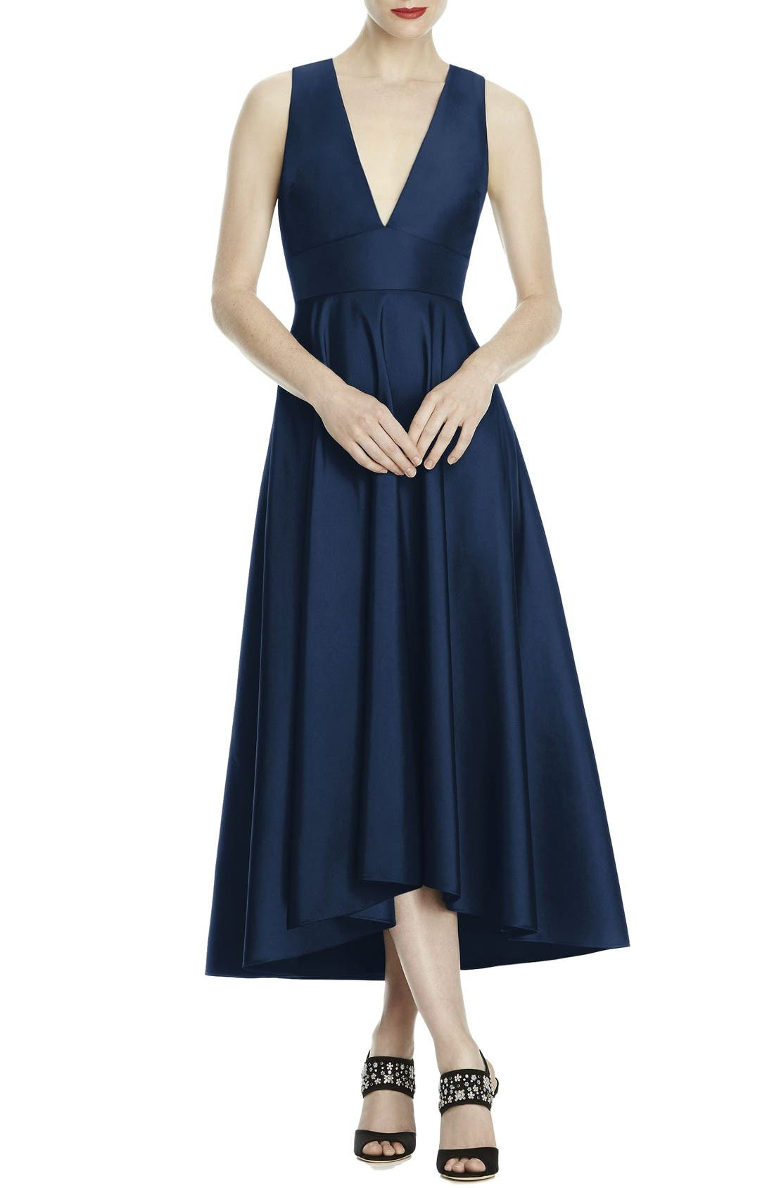 Mikado High/Low Midi Gown,                         Main,                         color, Midnight