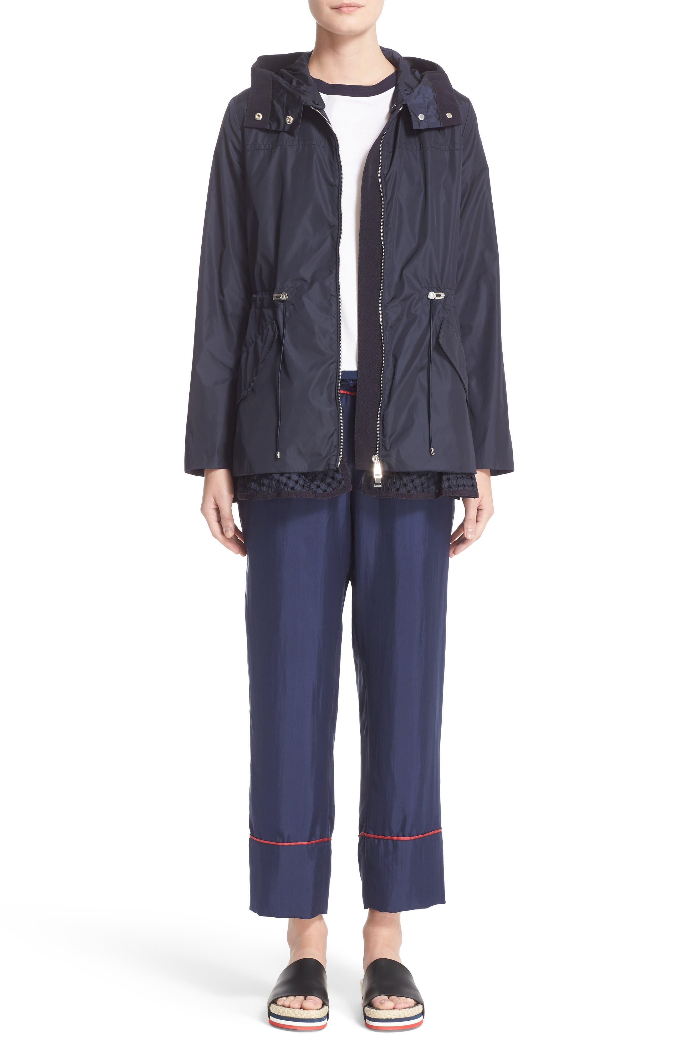 Lotus Water Resistant Peplum Raincoat,                             Alternate thumbnail 7, color,                             Navy