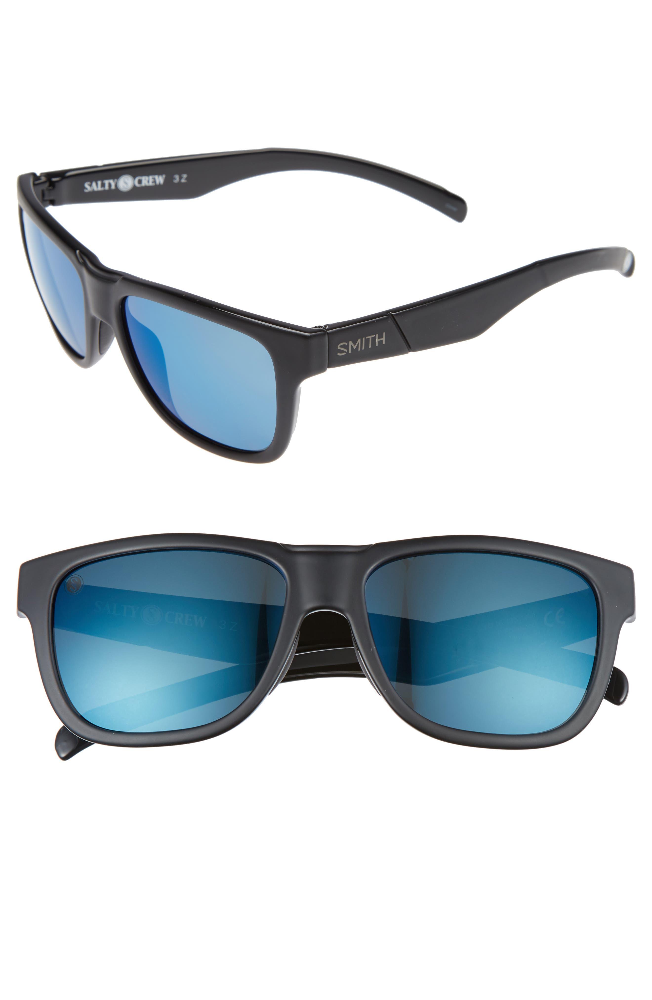 Lowdown Slim 53mm ChromaPop Polarized Sunglasses,                         Main,                         color, Matte Black Salty Crew