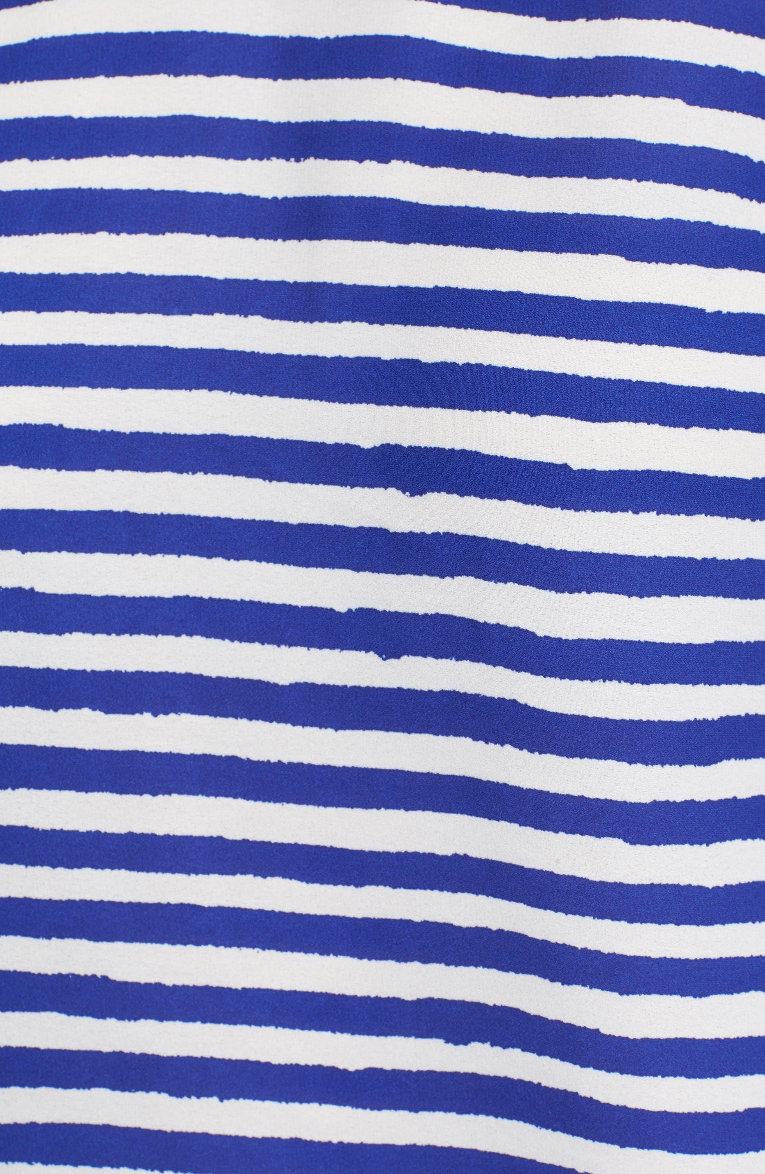 Tulip Sleeve Stripe Blouse,                             Alternate thumbnail 5, color,                             Regatta Blue