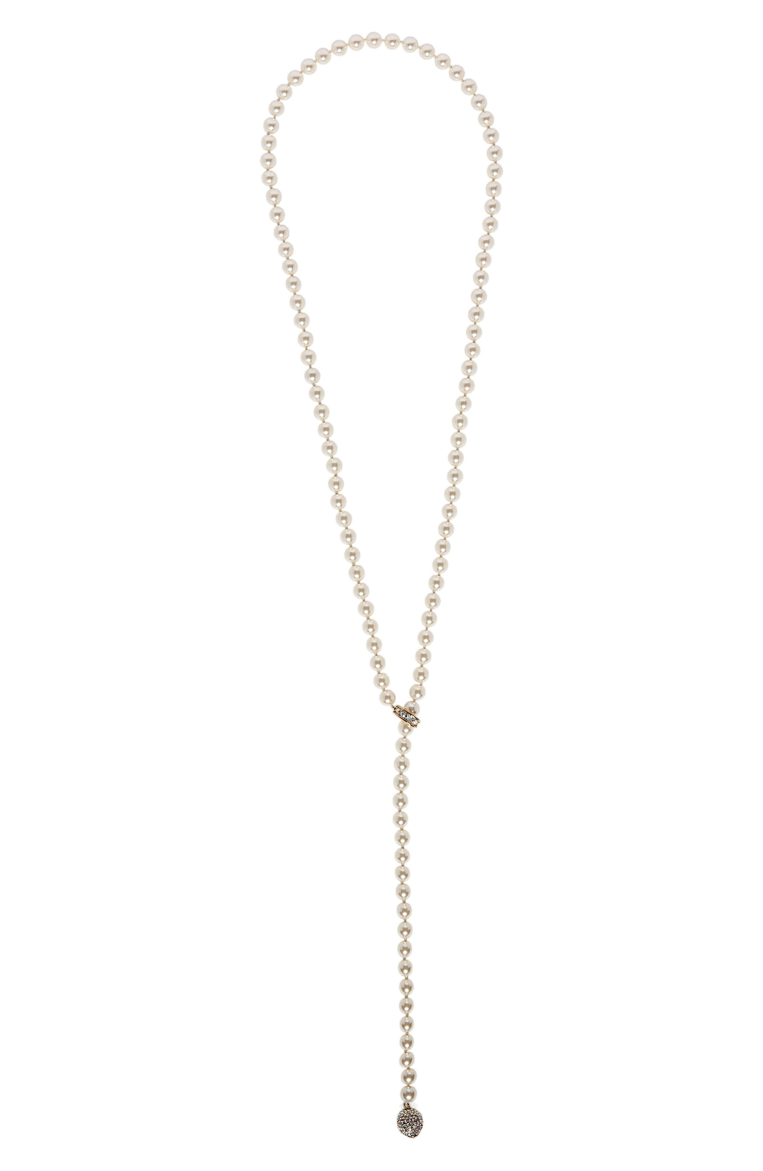 St. John Collection Swarovski Imitation Pearl & Crystal Lariat Necklace