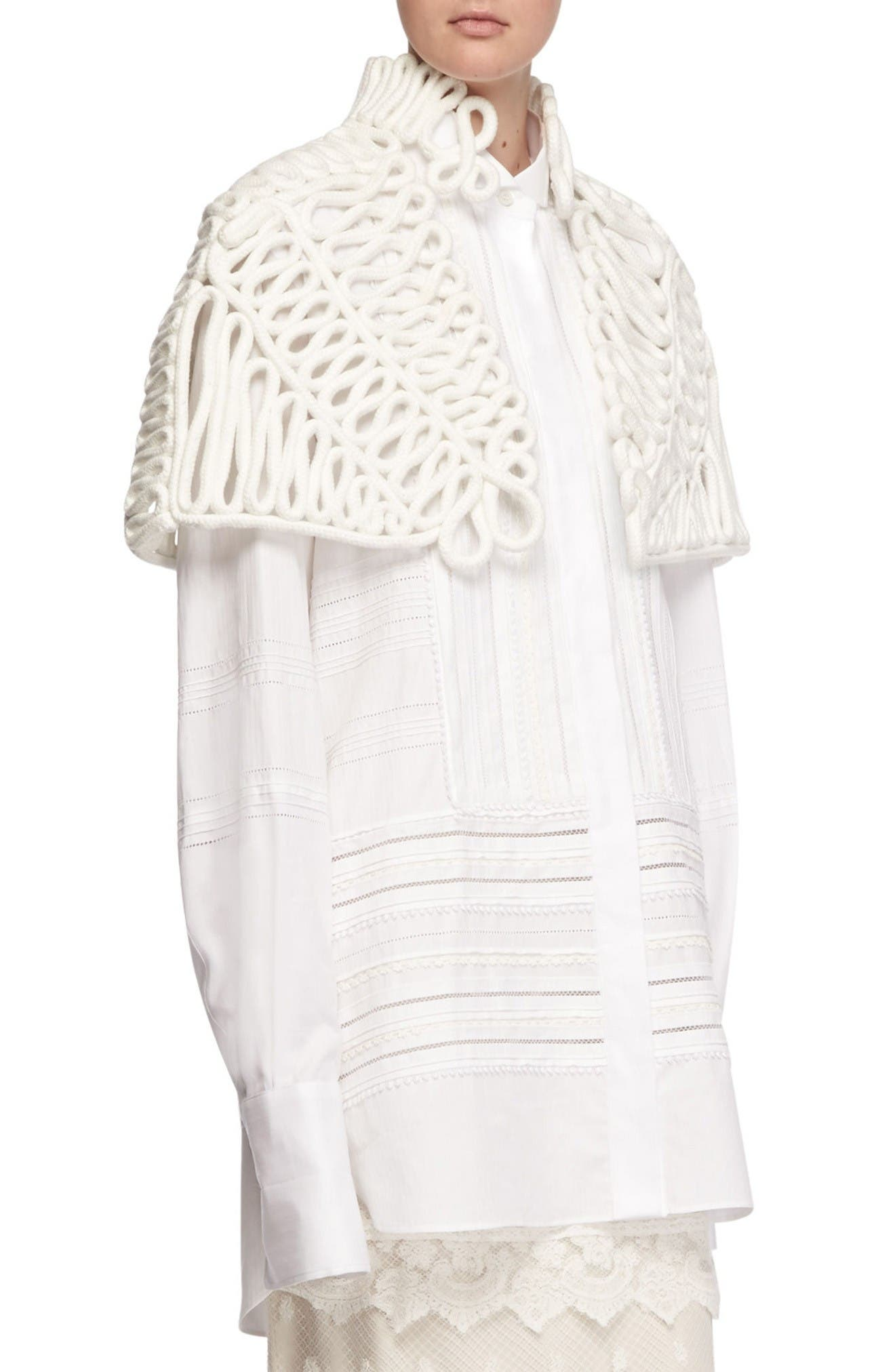 Hand Looped Rope Cape,                             Alternate thumbnail 3, color,                             White
