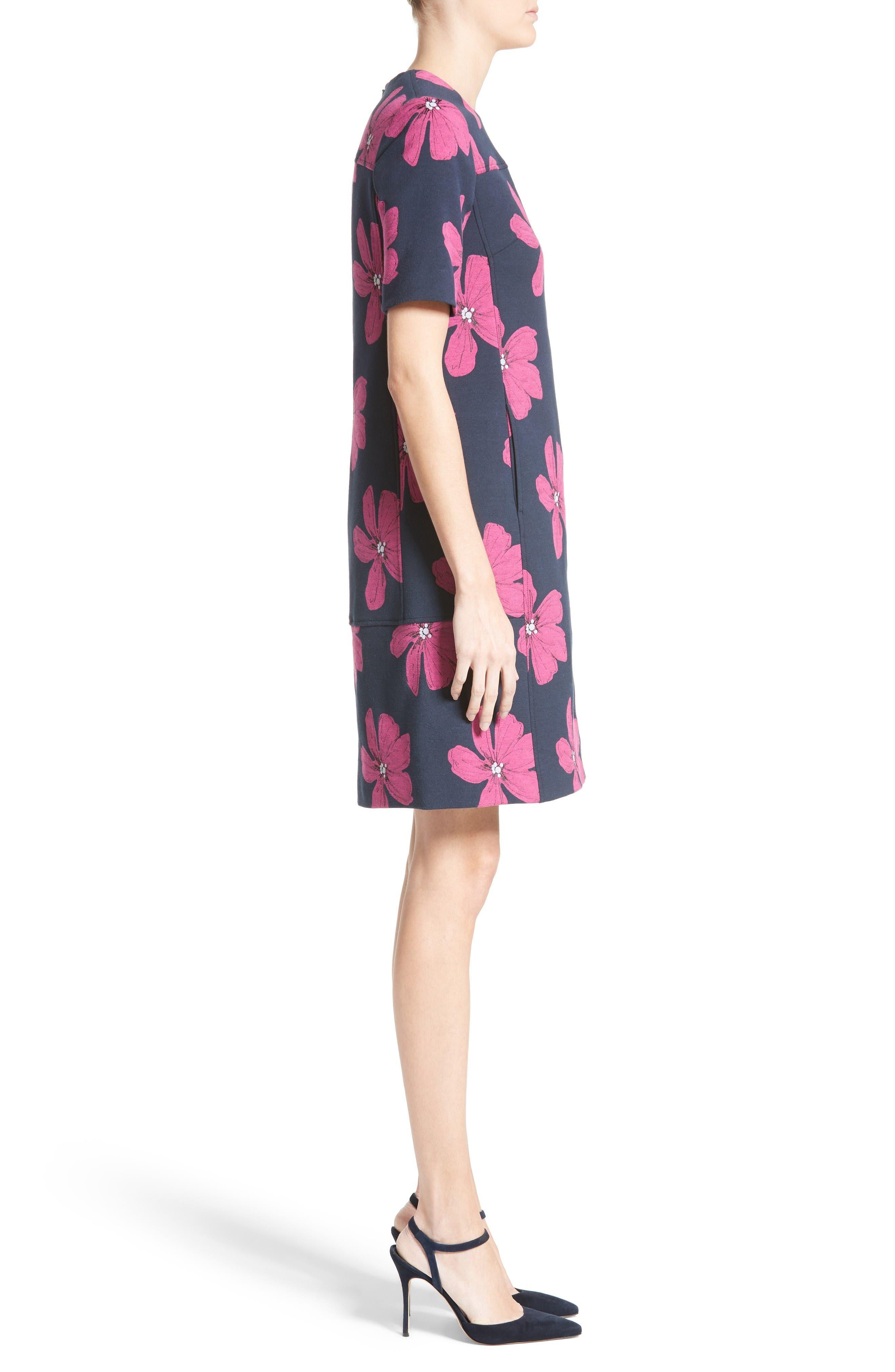 Floral Print Stretch Jacquard Tunic Dress,                             Alternate thumbnail 6, color,                             Navy/ Fuchsia