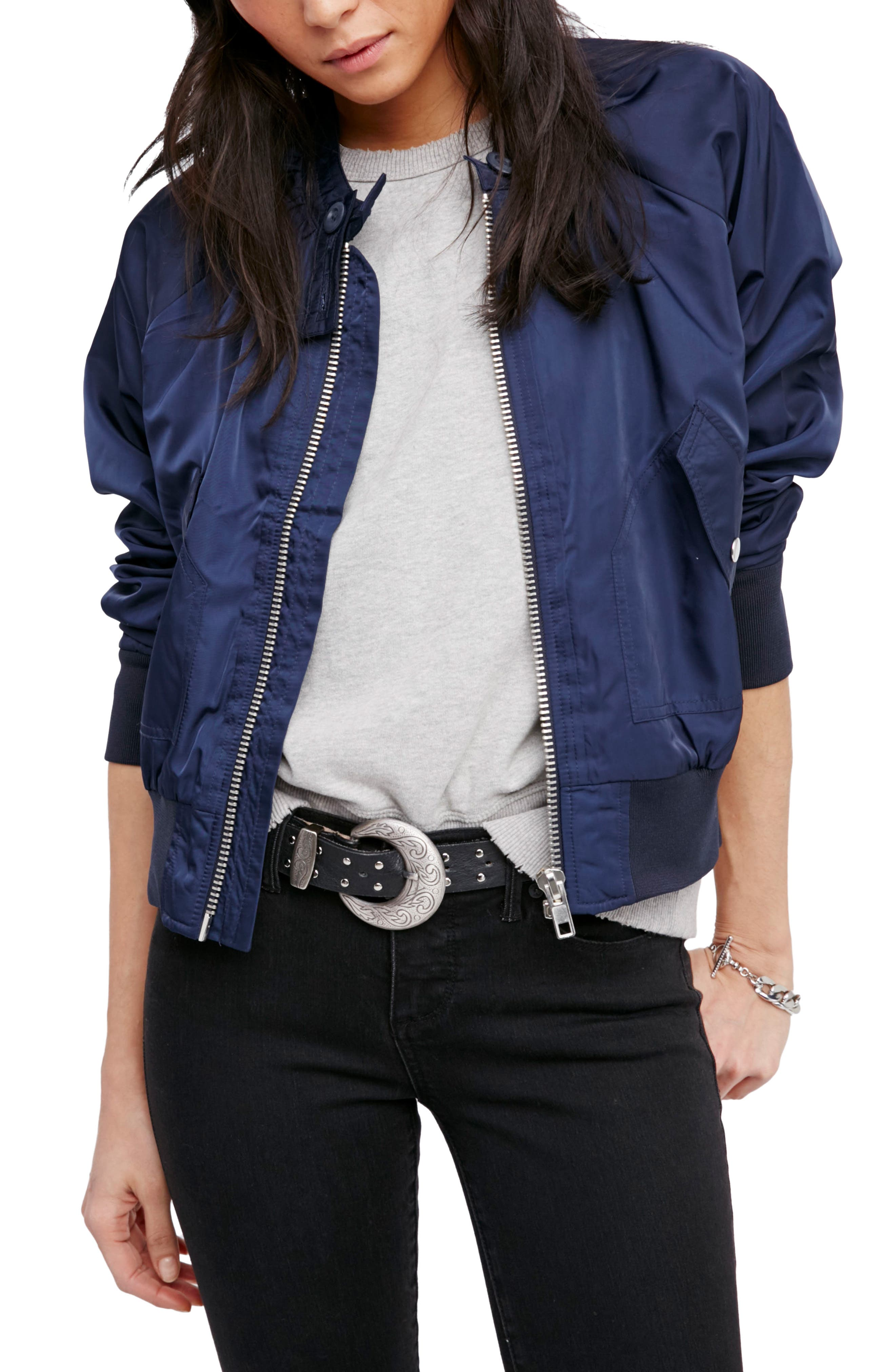 Alternate Image 1 Selected - Free People Midnight Bomber Jacket
