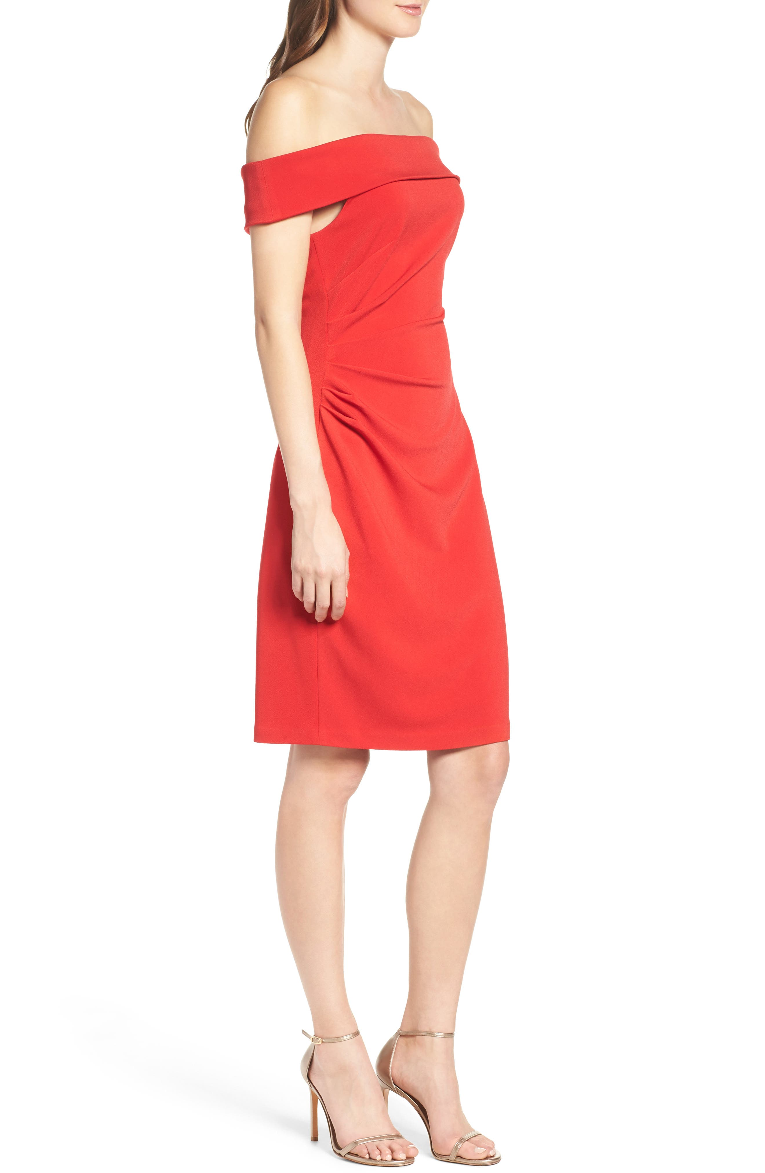 Off the Shoulder Crepe Sheath Dress,                             Alternate thumbnail 4, color,                             Red