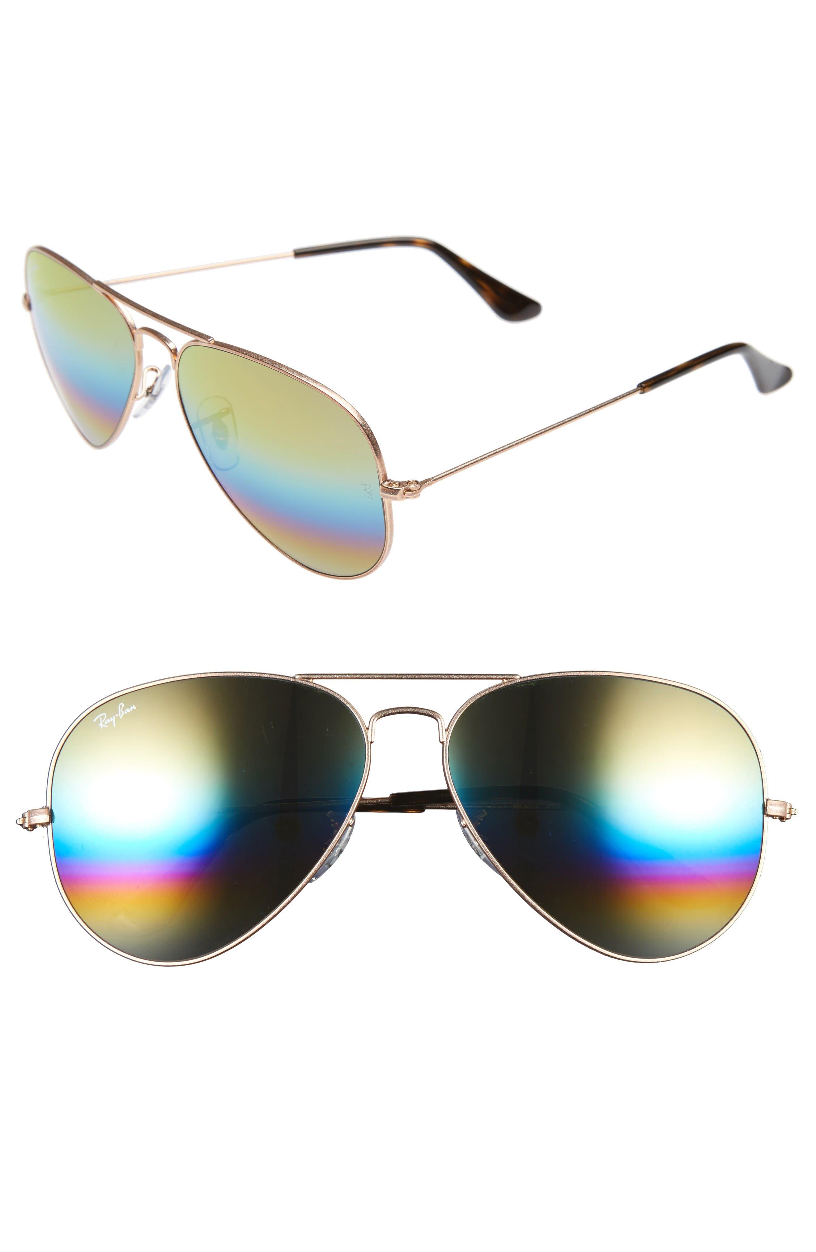 Standard Icons 58mm Mirrored Rainbow Aviator Sunglasses,                         Main,                         color, Yellow Multi Rainbow