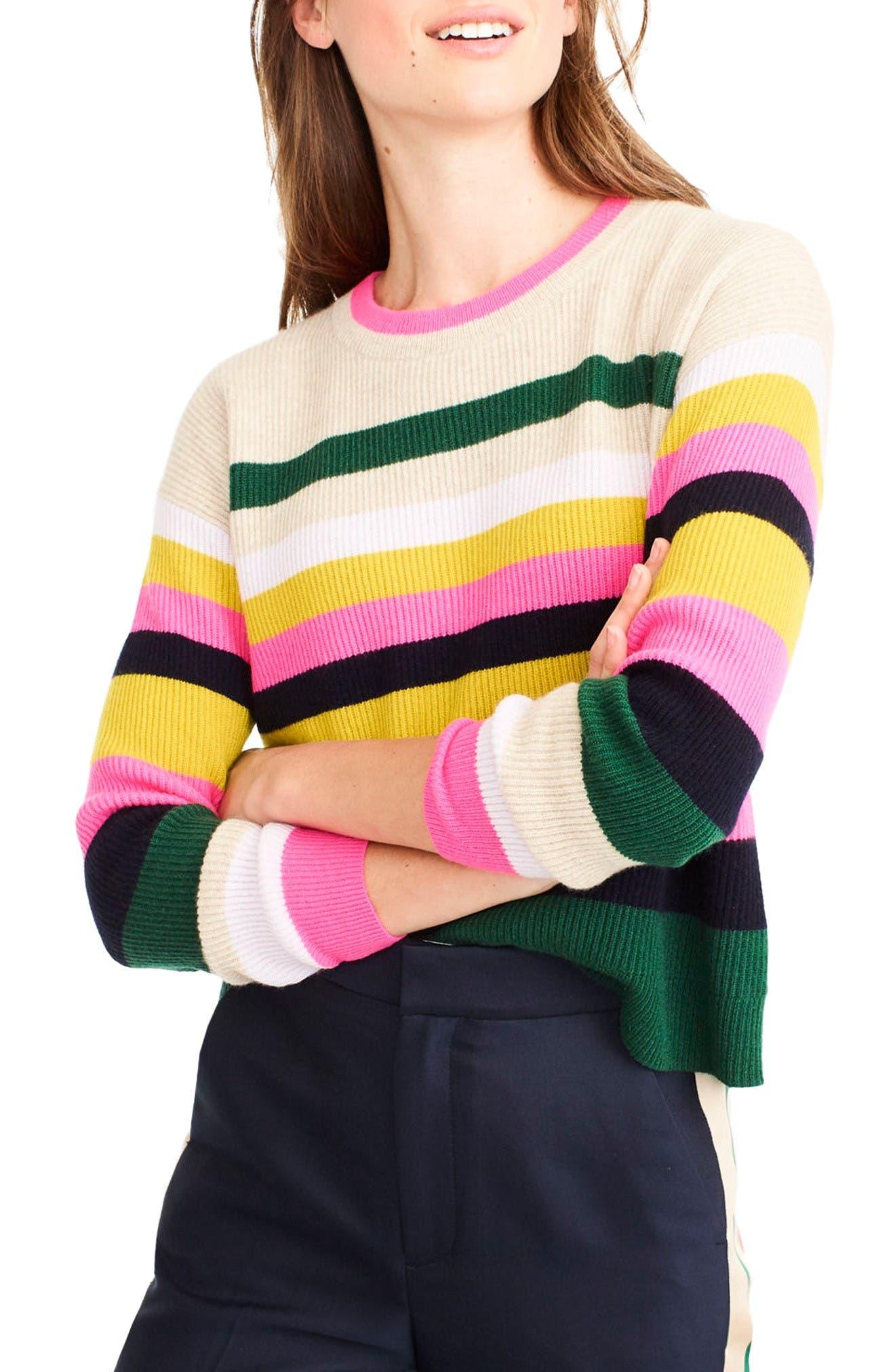 Alternate Image 1 Selected - J.Crew Carine Pop Stripe Italian Cashmere Sweater