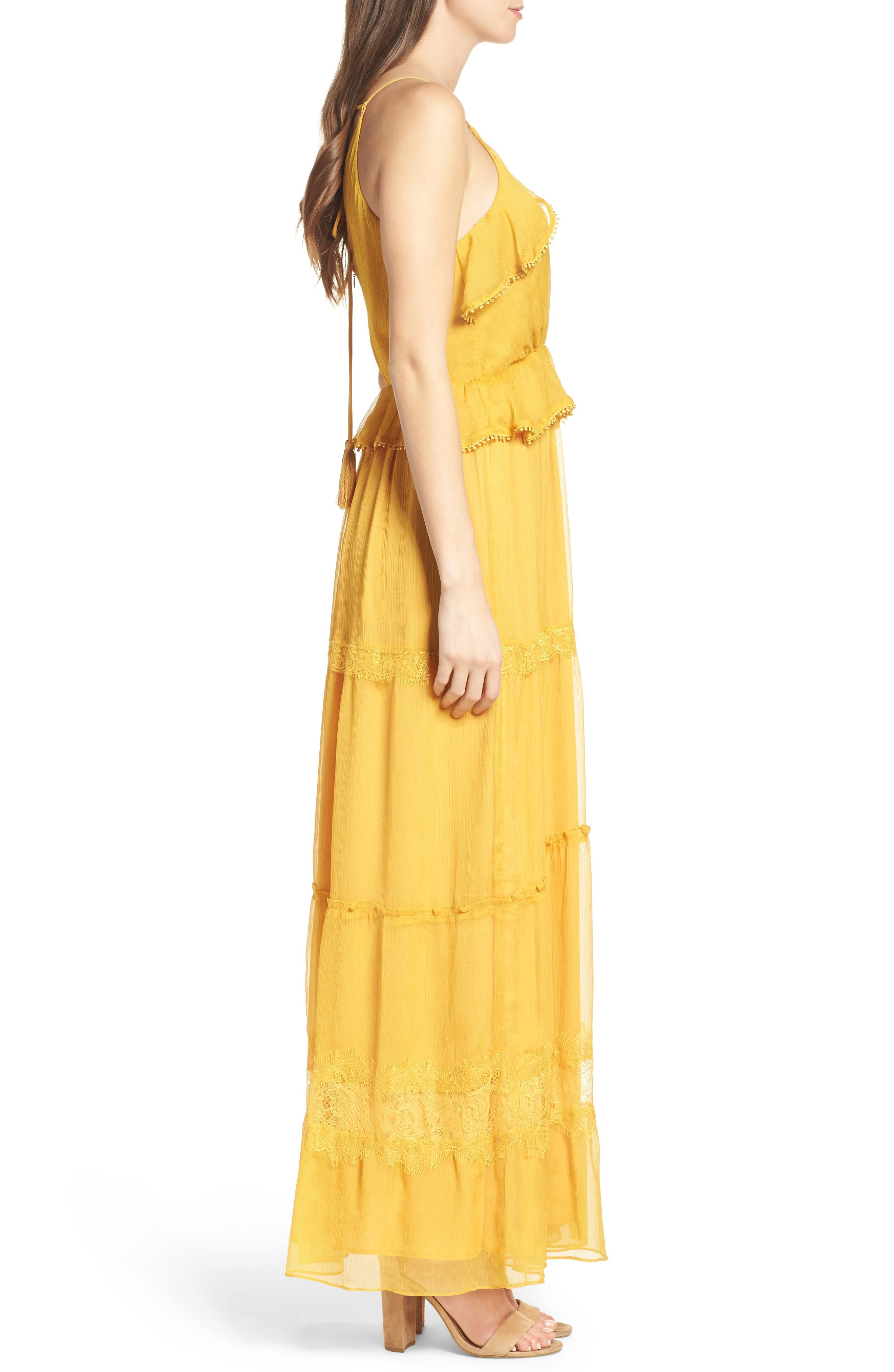 Tiered Chiffon Maxi Dress,                             Alternate thumbnail 3, color,                             Golden Yellow