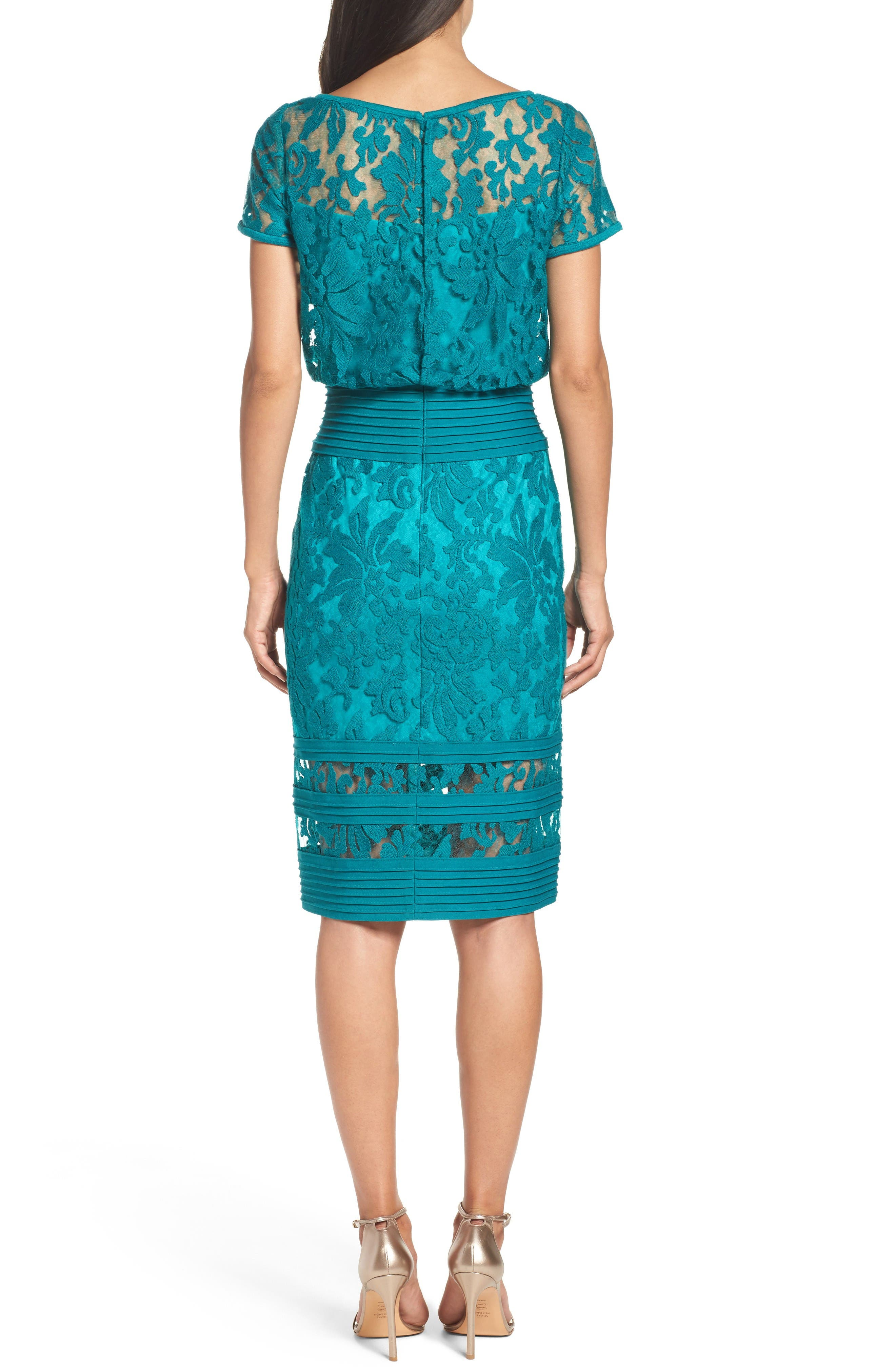 Embroidered Blouson Sheath Dress,                             Alternate thumbnail 2, color,                             Aqua Blue