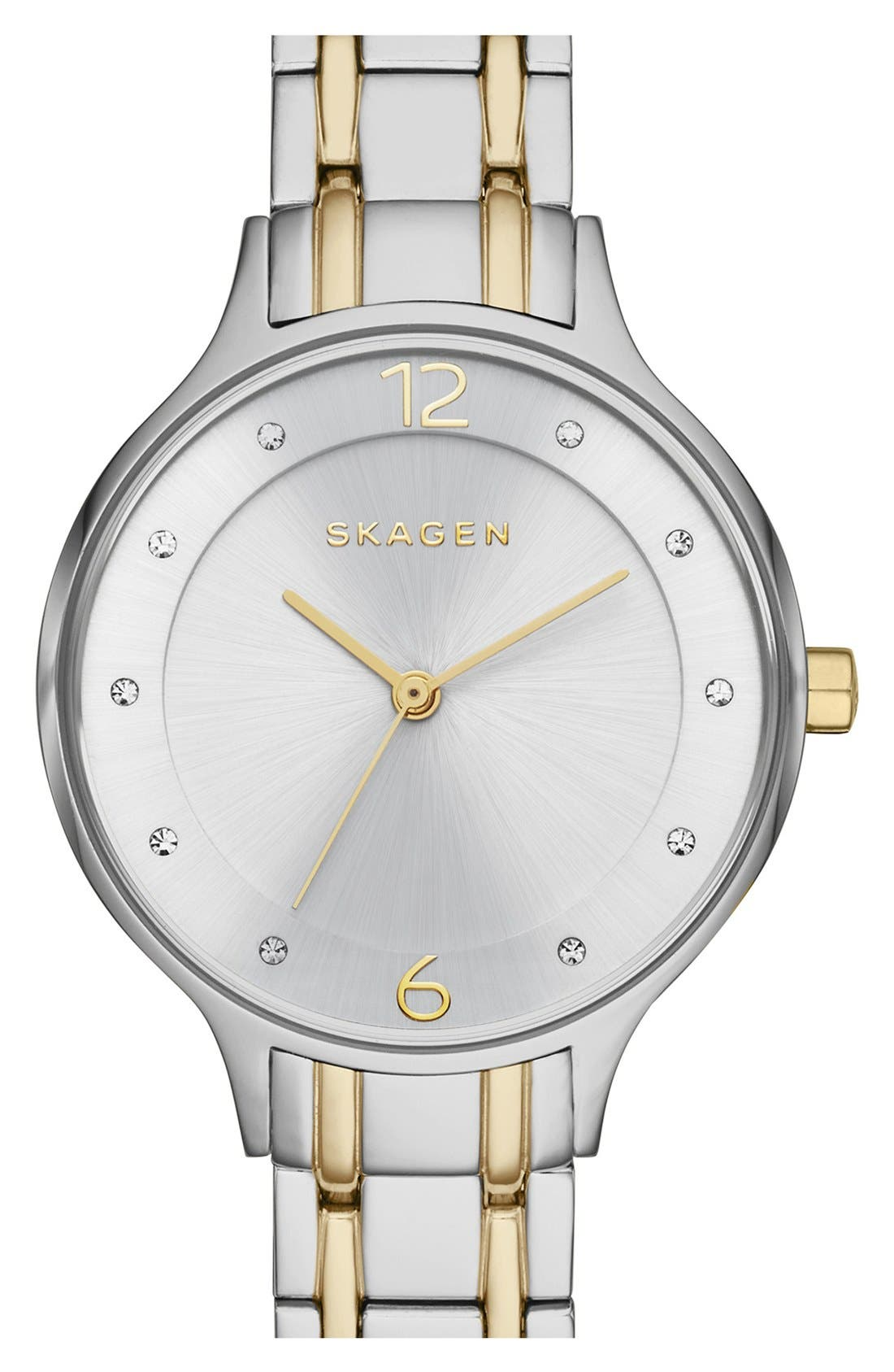Main Image - Skagen 'Anita' Crystal Index Bracelet Watch, 30mm