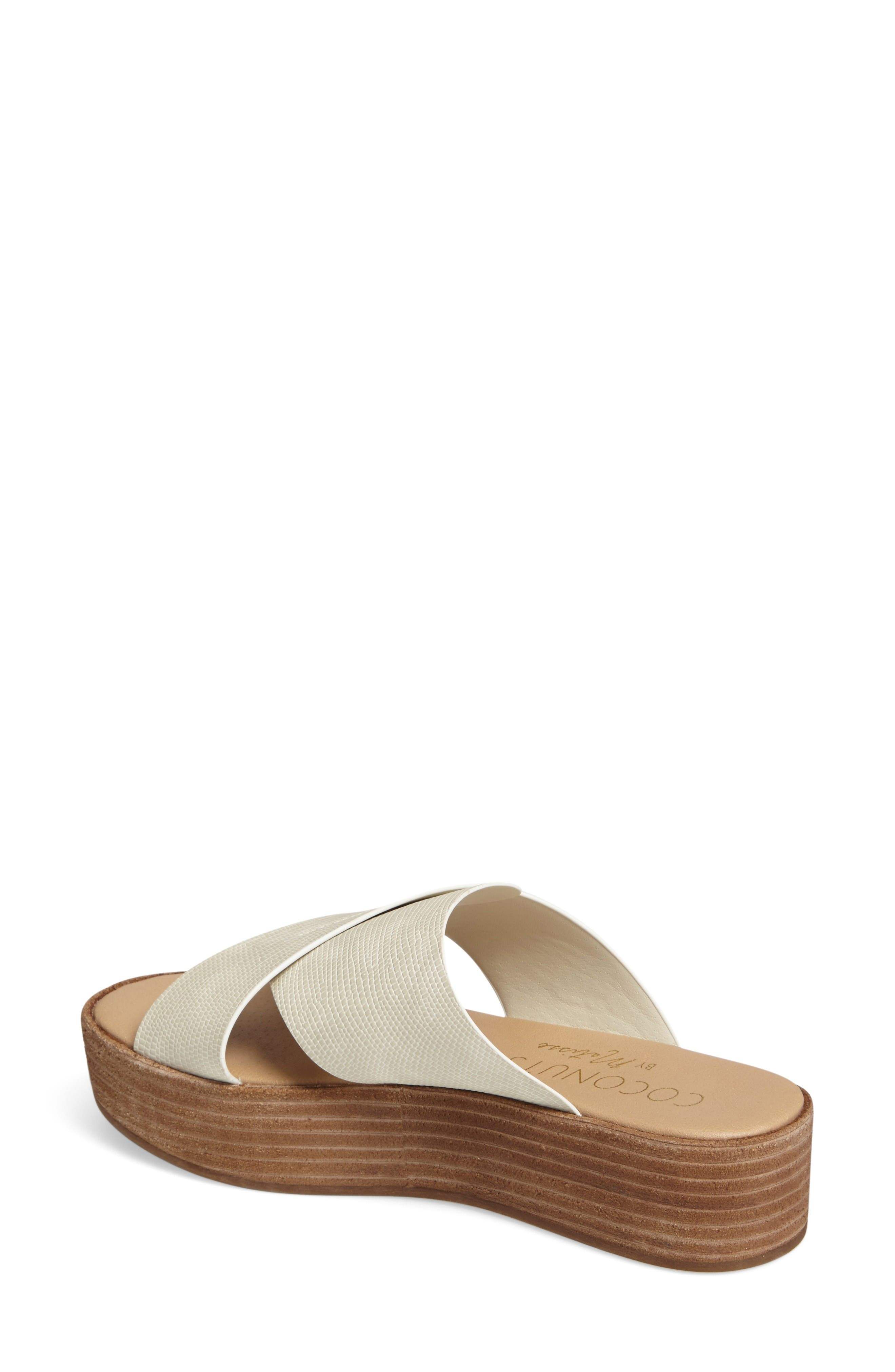Coconuts by Matisse Masters Cross Strap Platform Sandal,                             Alternate thumbnail 2, color,                             White Leather