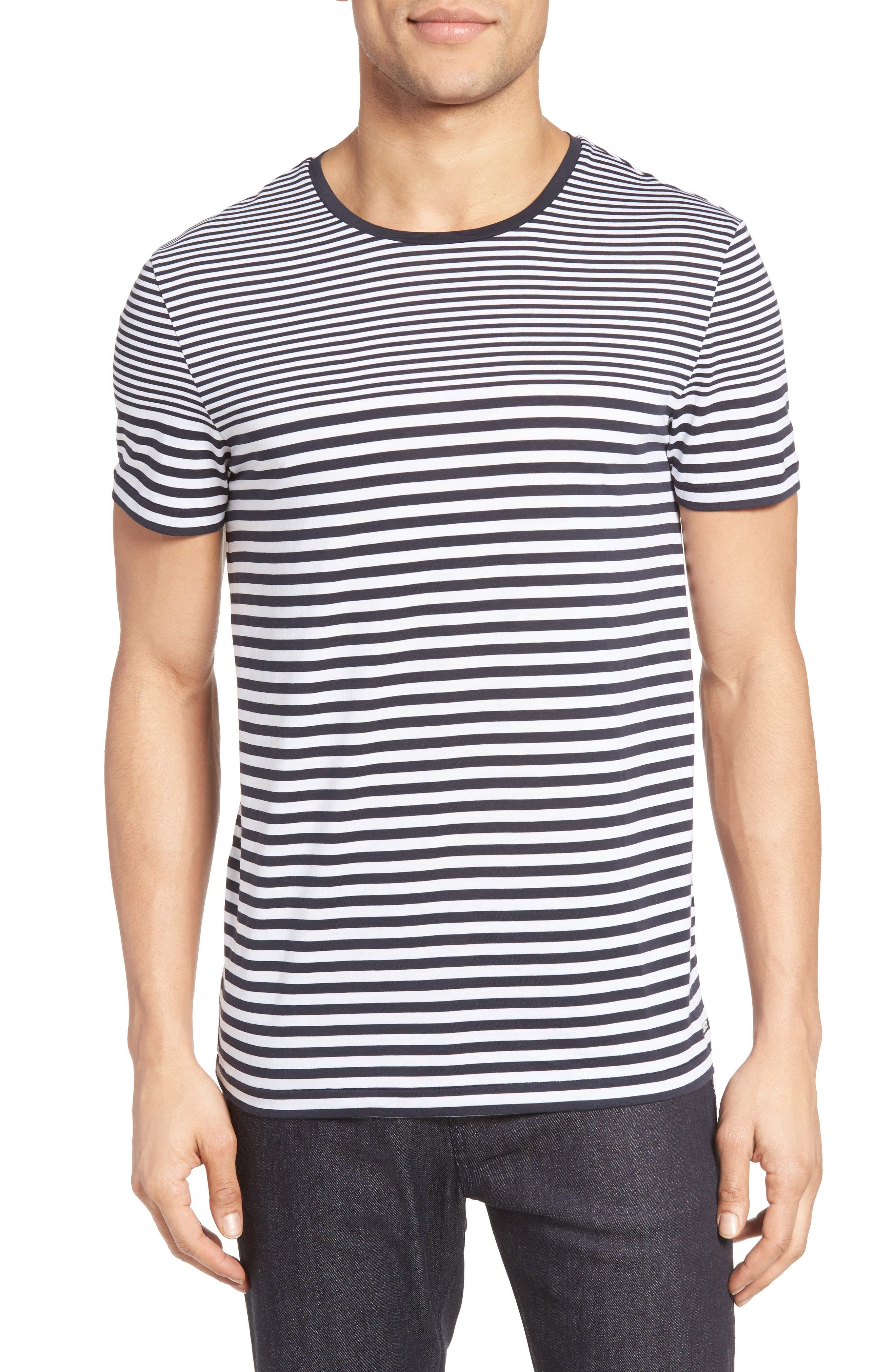 Tessler Slim Fit Stripe T-Shirt,                         Main,                         color, Navy
