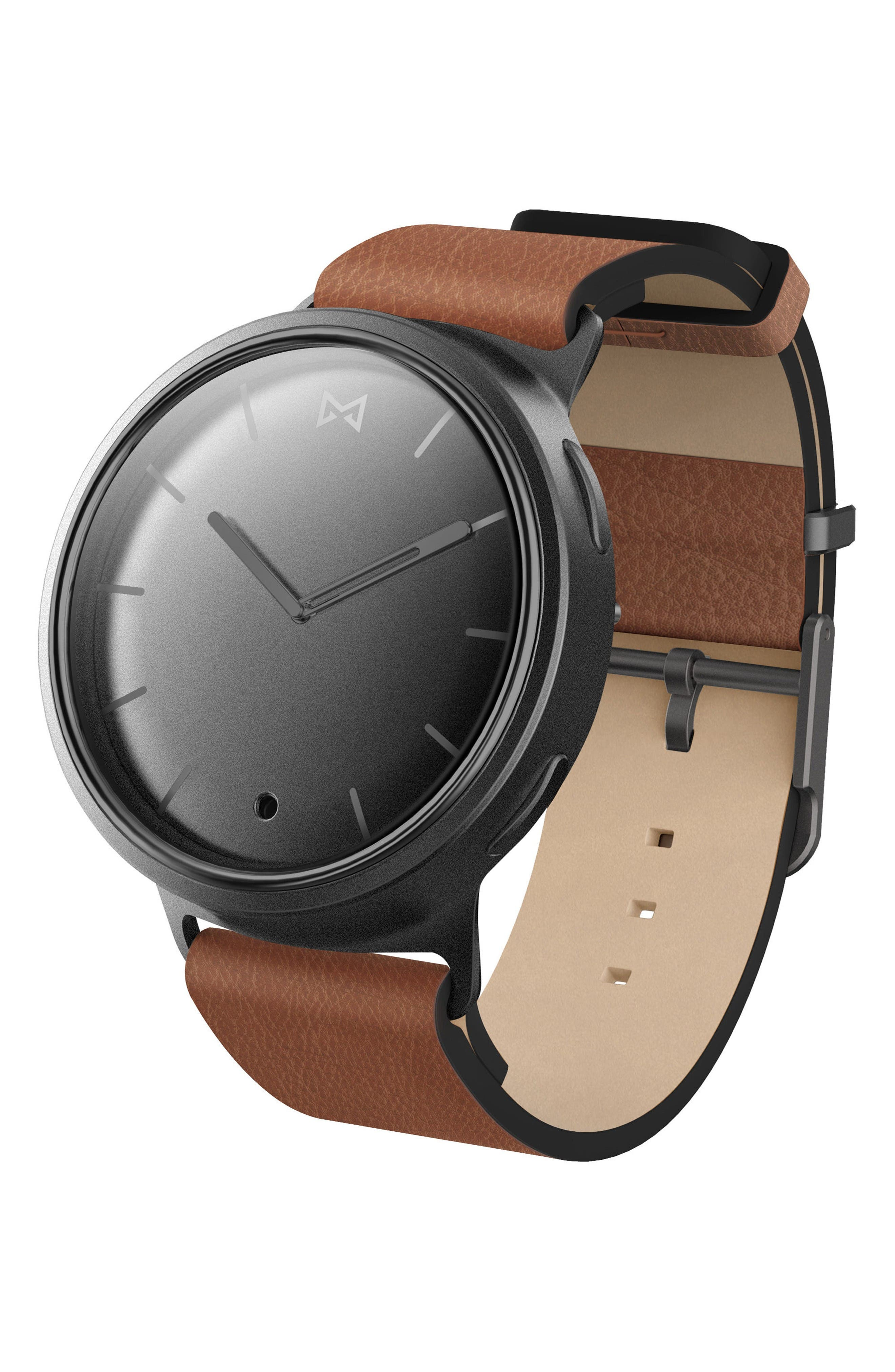 Phase Leather Strap Smart Watch, 40mm,                         Main,                         color, Brown/ Gunmetal