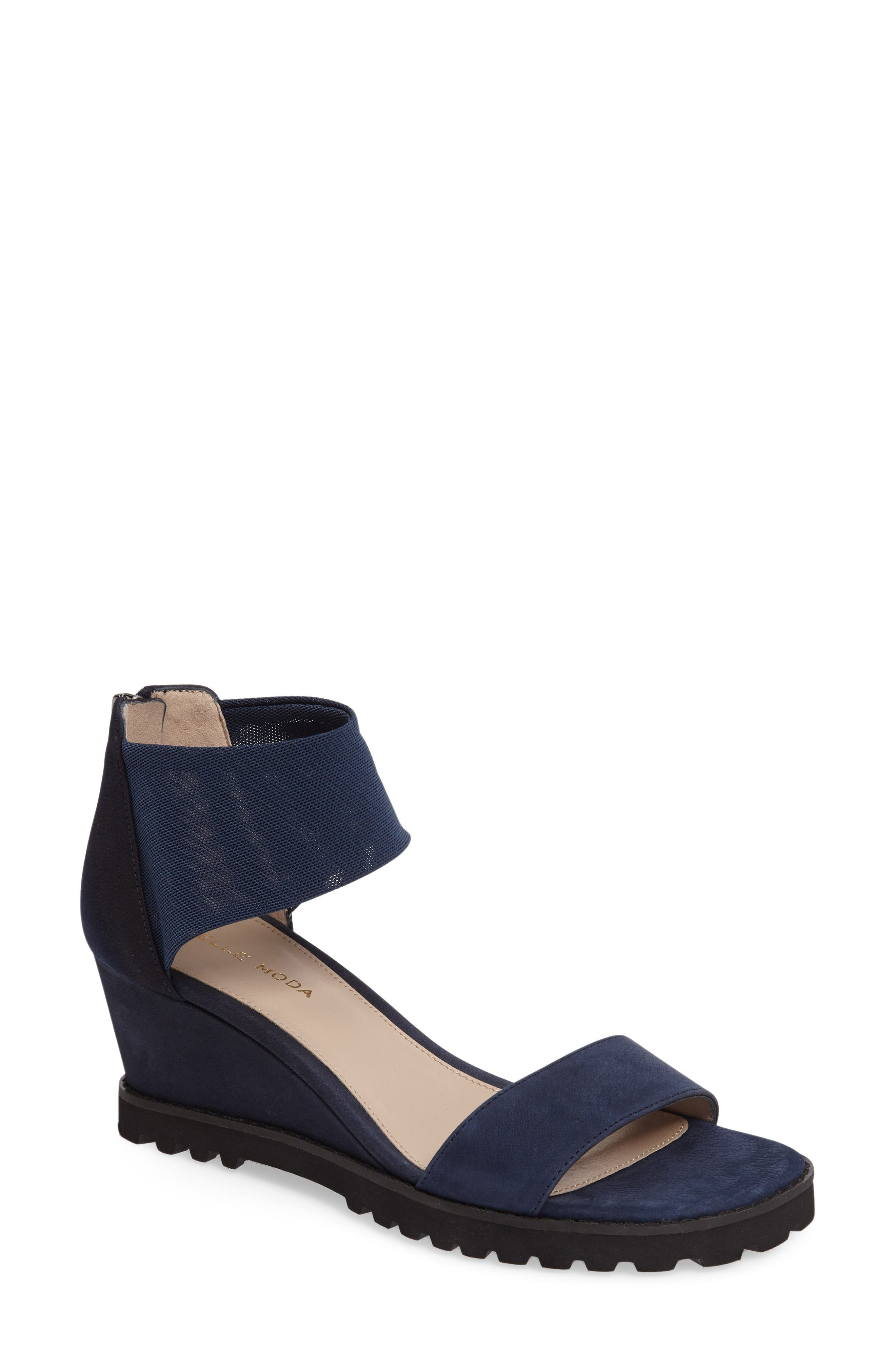 Ricki Mesh Strap Wedge,                         Main,                         color, Midnight Leather