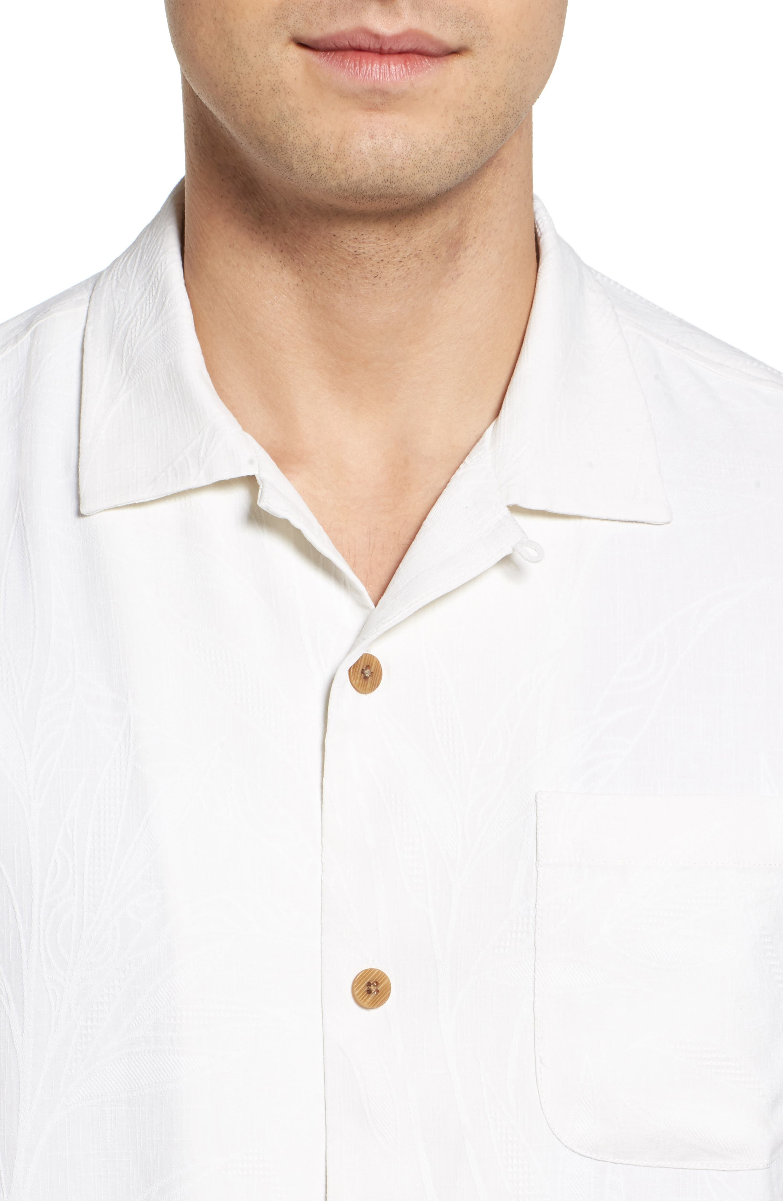 Islander Fronds Silk Camp Shirt,                             Alternate thumbnail 4, color,                             Continental