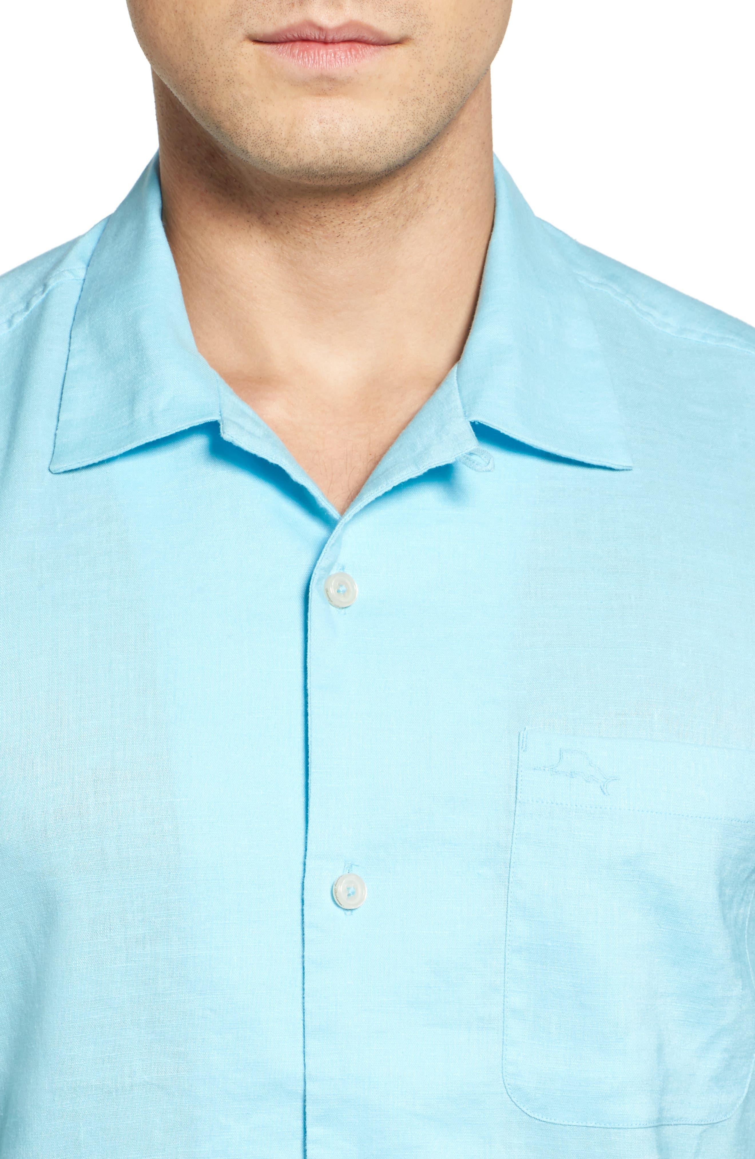 Monaco Tides Standard Fit Linen Blend Camp Shirt,                             Alternate thumbnail 4, color,                             Graceful Sea