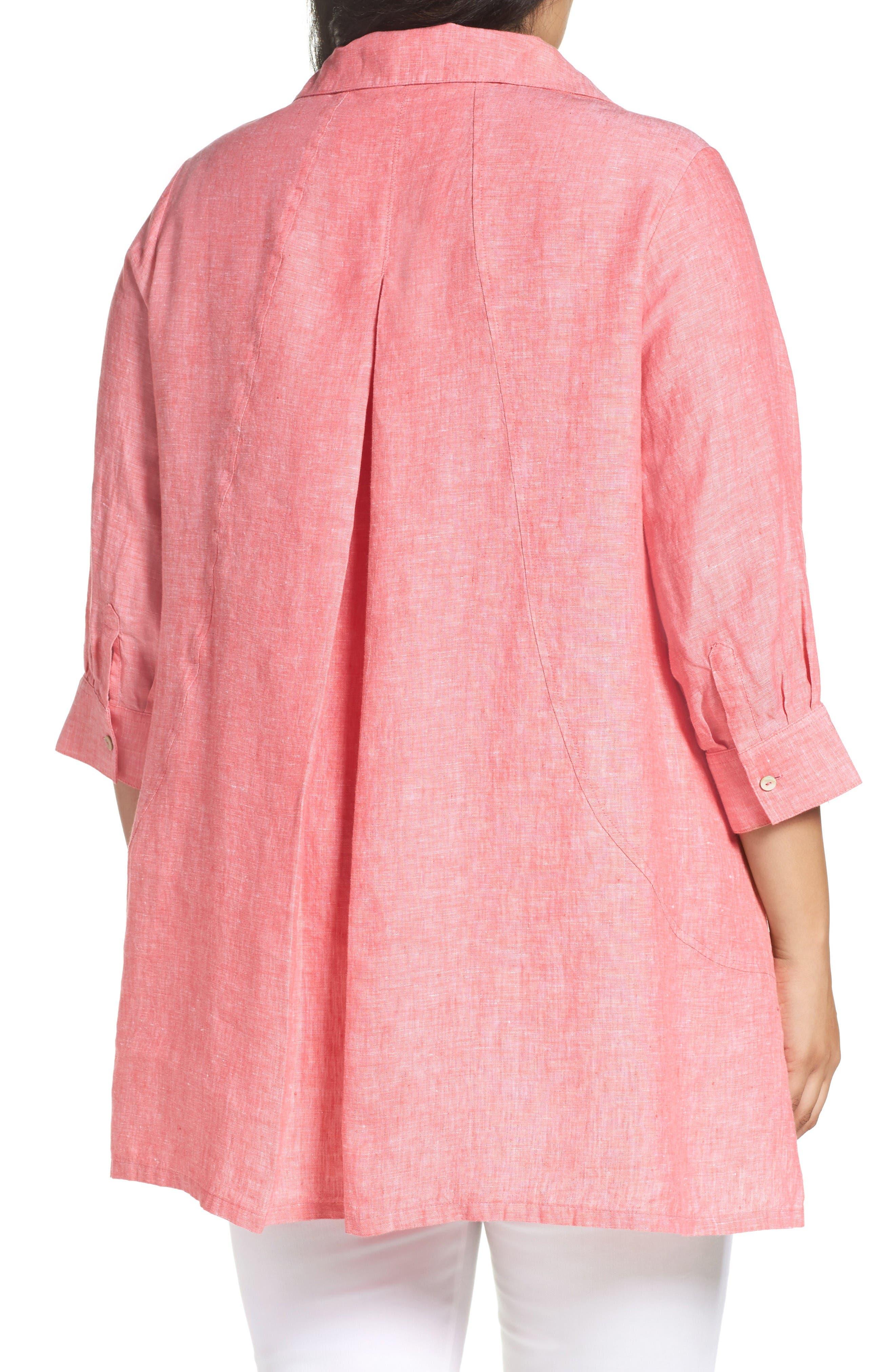 Alternate Image 2  - Foxcroft Linen Chambray Tunic (Plus Size)