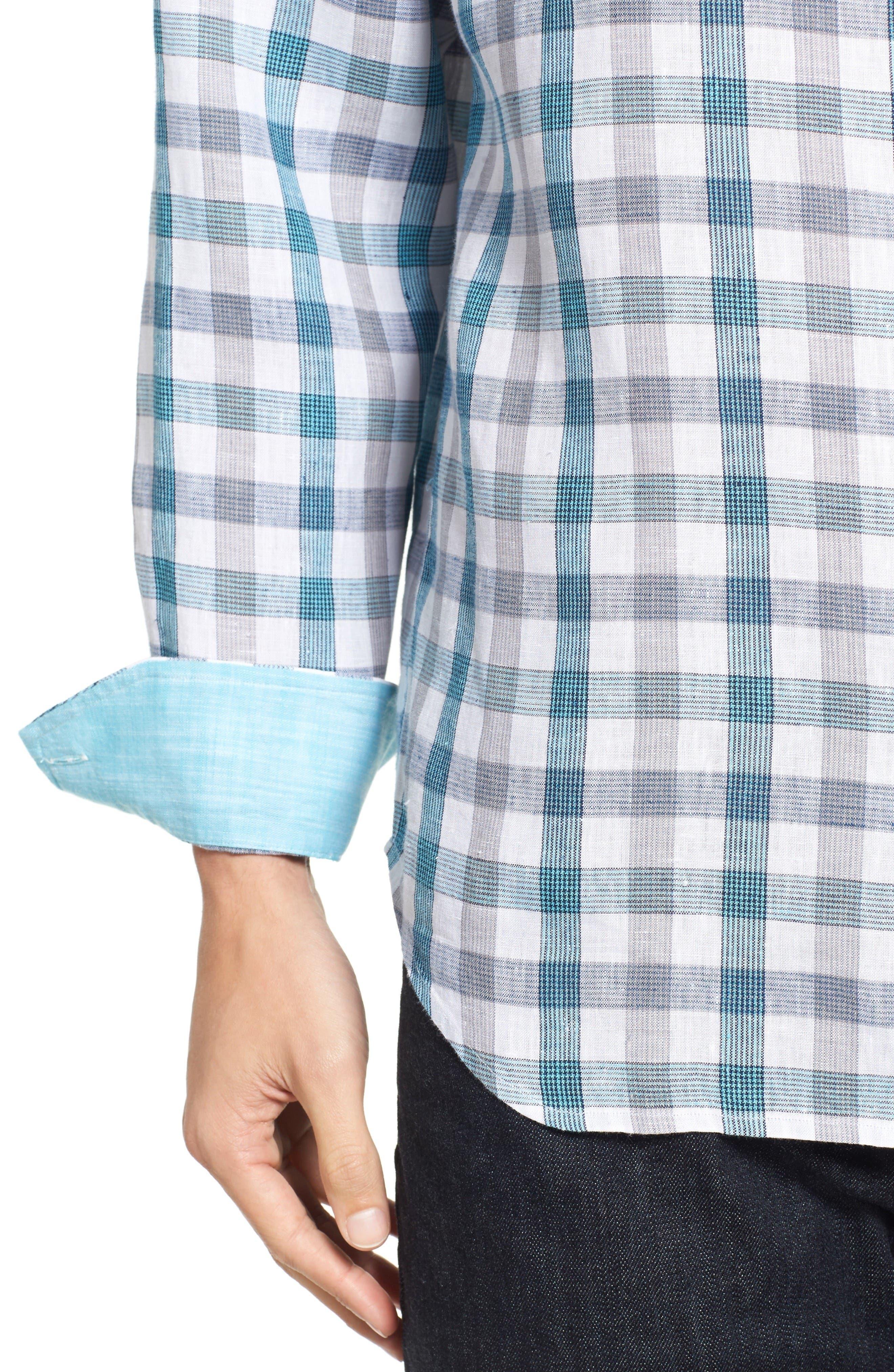 Thira Check Linen Sport Shirt,                             Alternate thumbnail 4, color,                             Download Blue