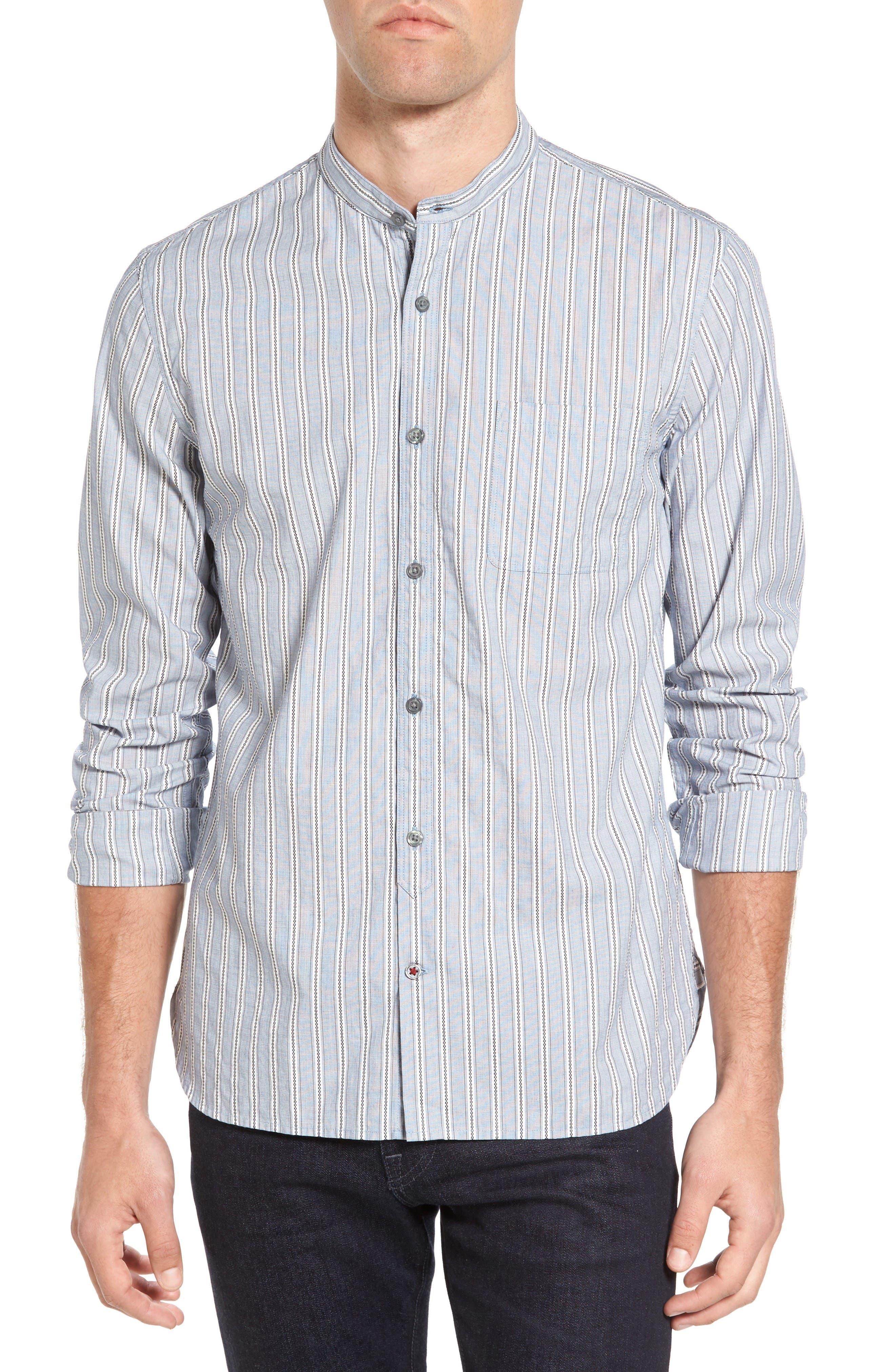 John Varvatos Star USA Trim Fit Stripe Band Collar Sport Shirt