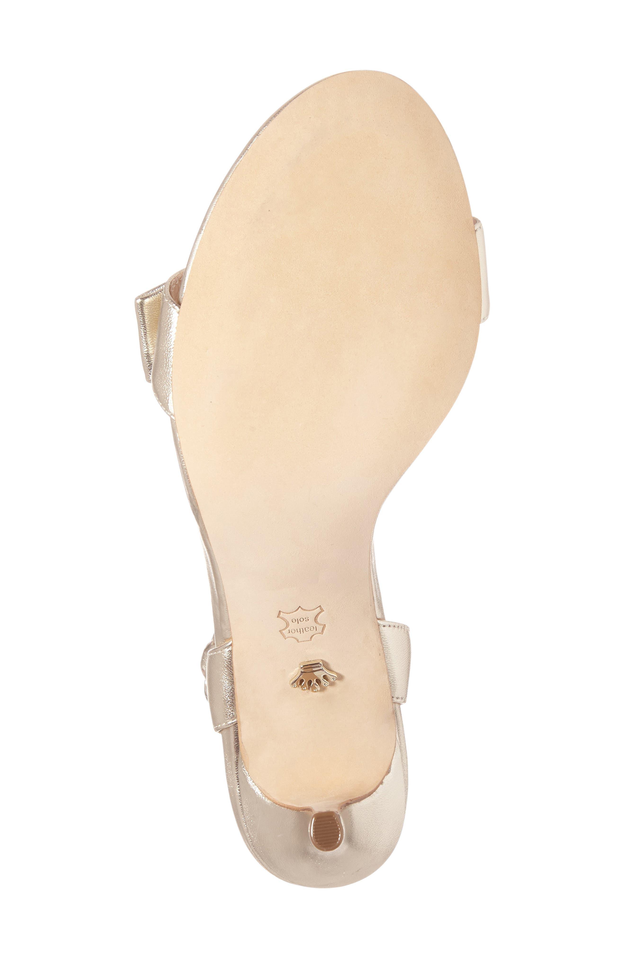 Kabira Swarovski Embellished Strappy Sandal,                             Alternate thumbnail 4, color,                             Platino Leather
