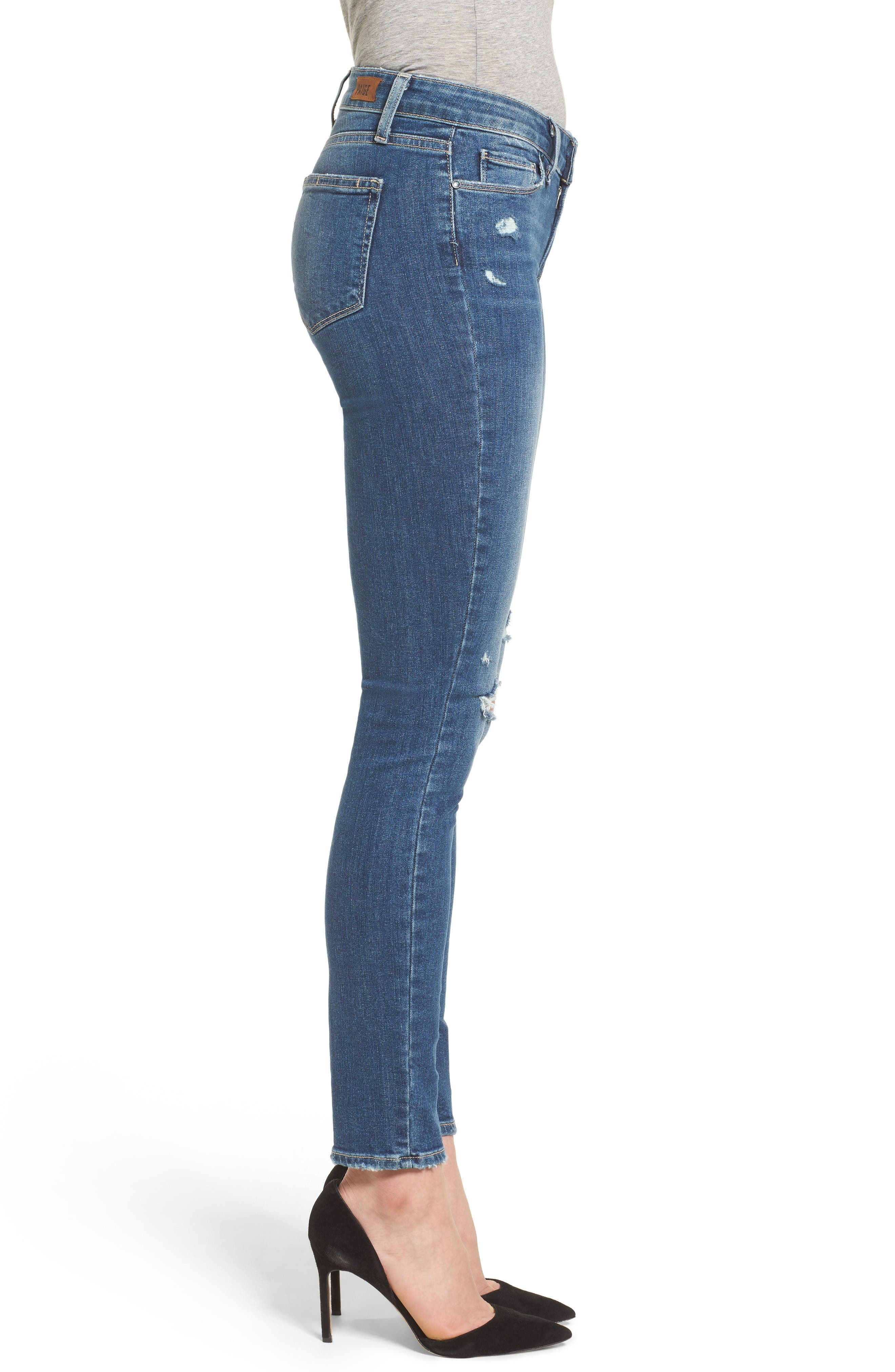 Alternate Image 3  - PAIGE Verdugo Ripped Ultra Skinny Jeans (Destructed Blue)