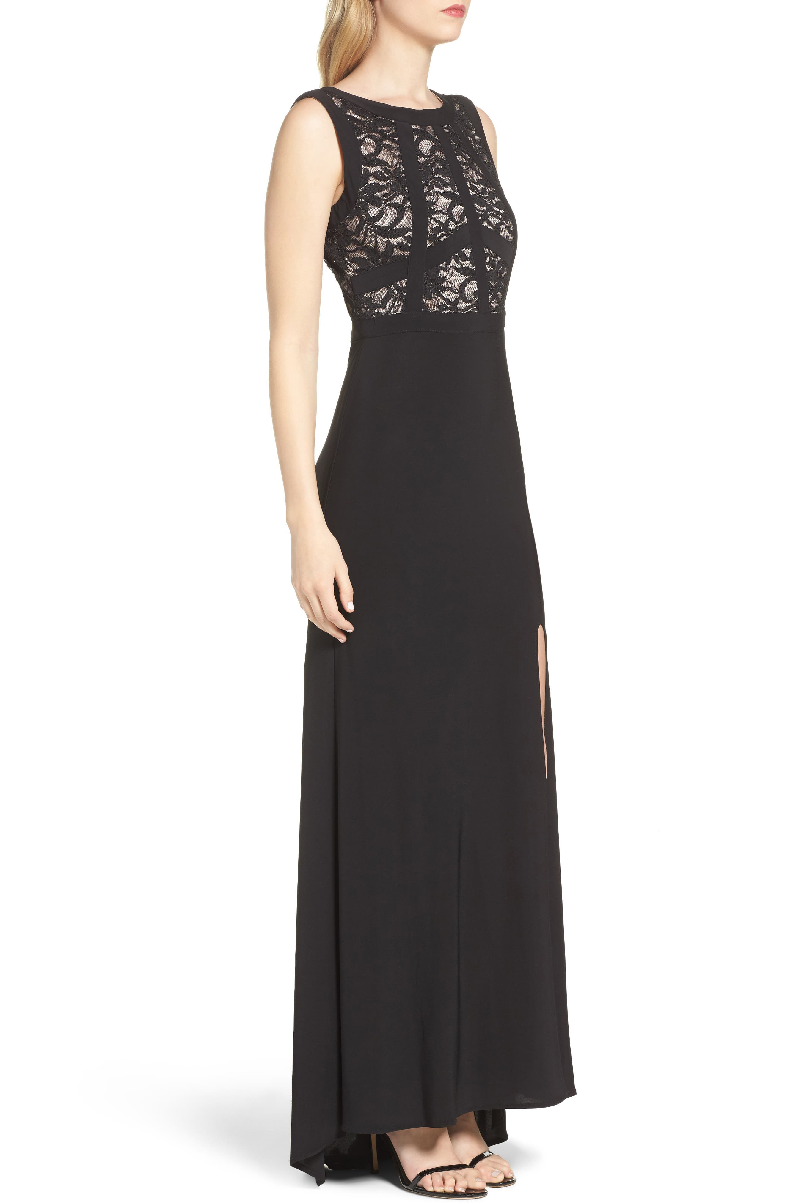 Lace & Jersey Gown,                             Alternate thumbnail 3, color,                             Black/ Nude