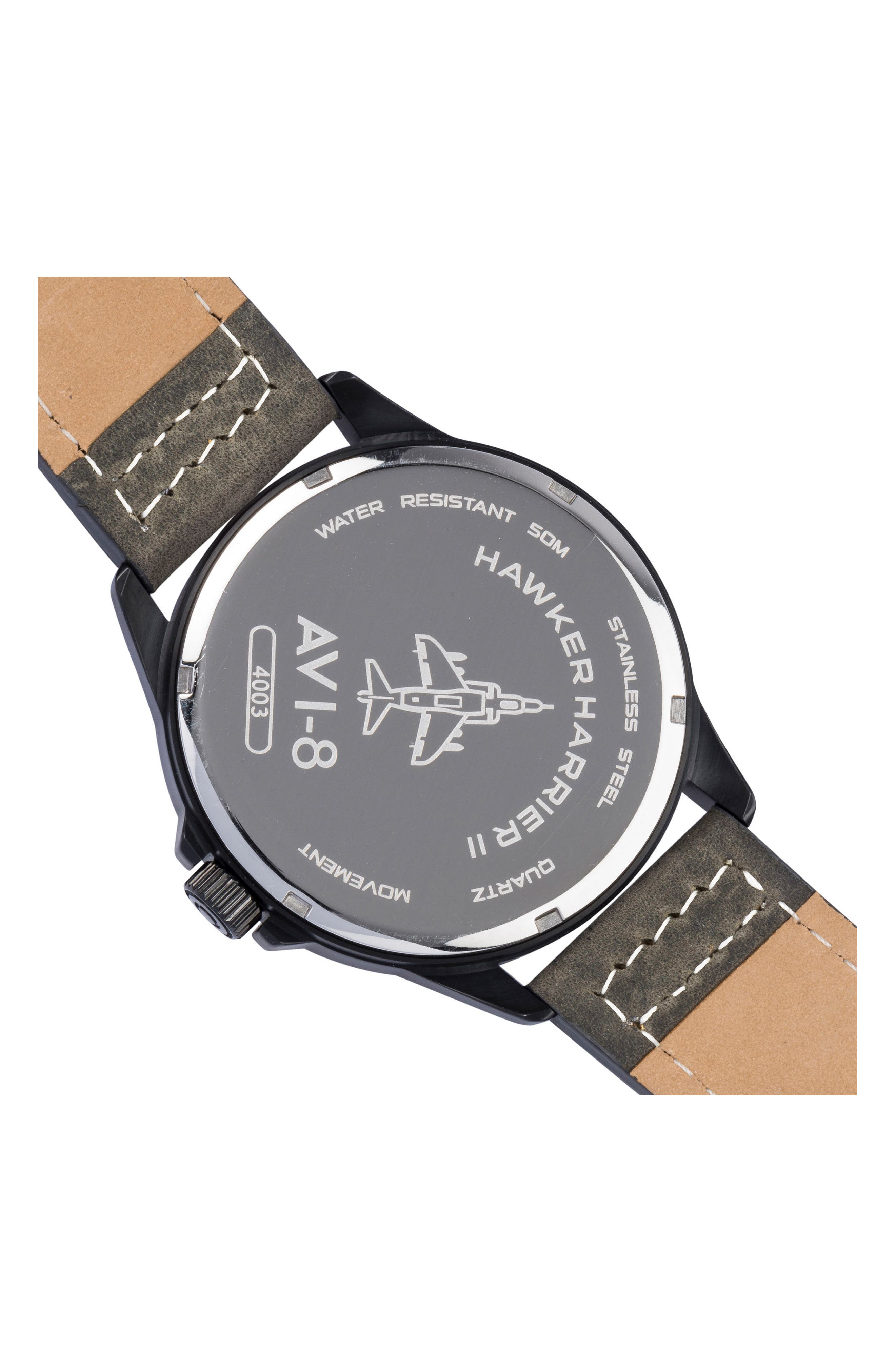 Hawker Harrier II Leather Strap Watch, 45mm,                             Alternate thumbnail 2, color,                             Grey/ Grey