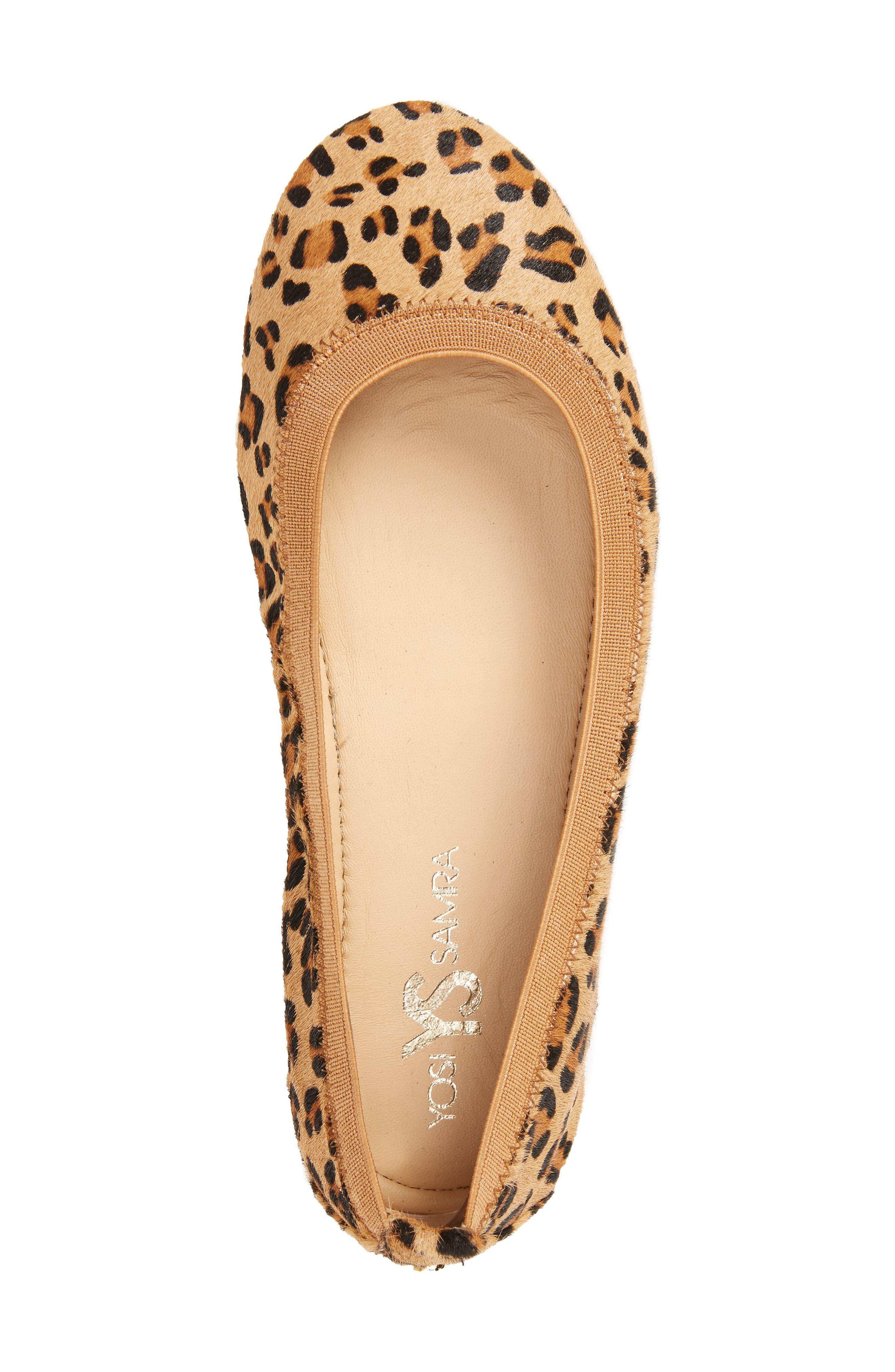 Samara 2.0 Foldable Ballet Flat,                             Alternate thumbnail 3, color,                             Natural Leopard Calf Hair