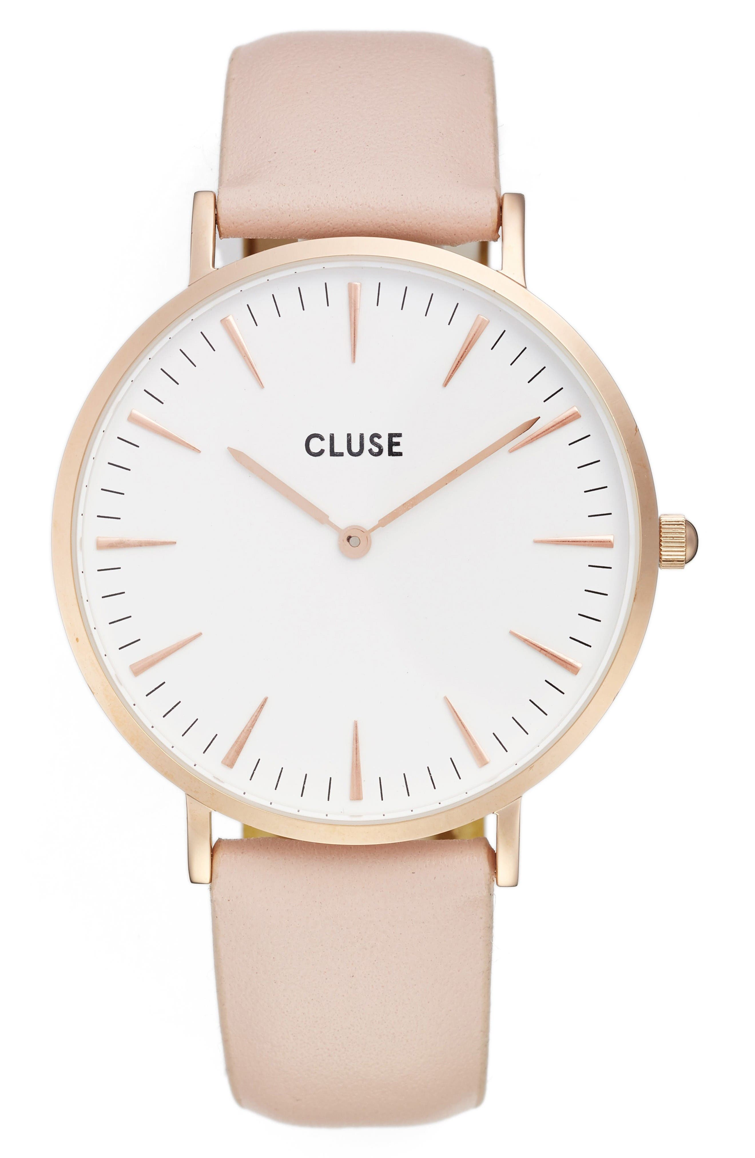 La Bohème Leather Strap Watch, 38mm,                         Main,                         color, Pink/ White/ Rose Gold