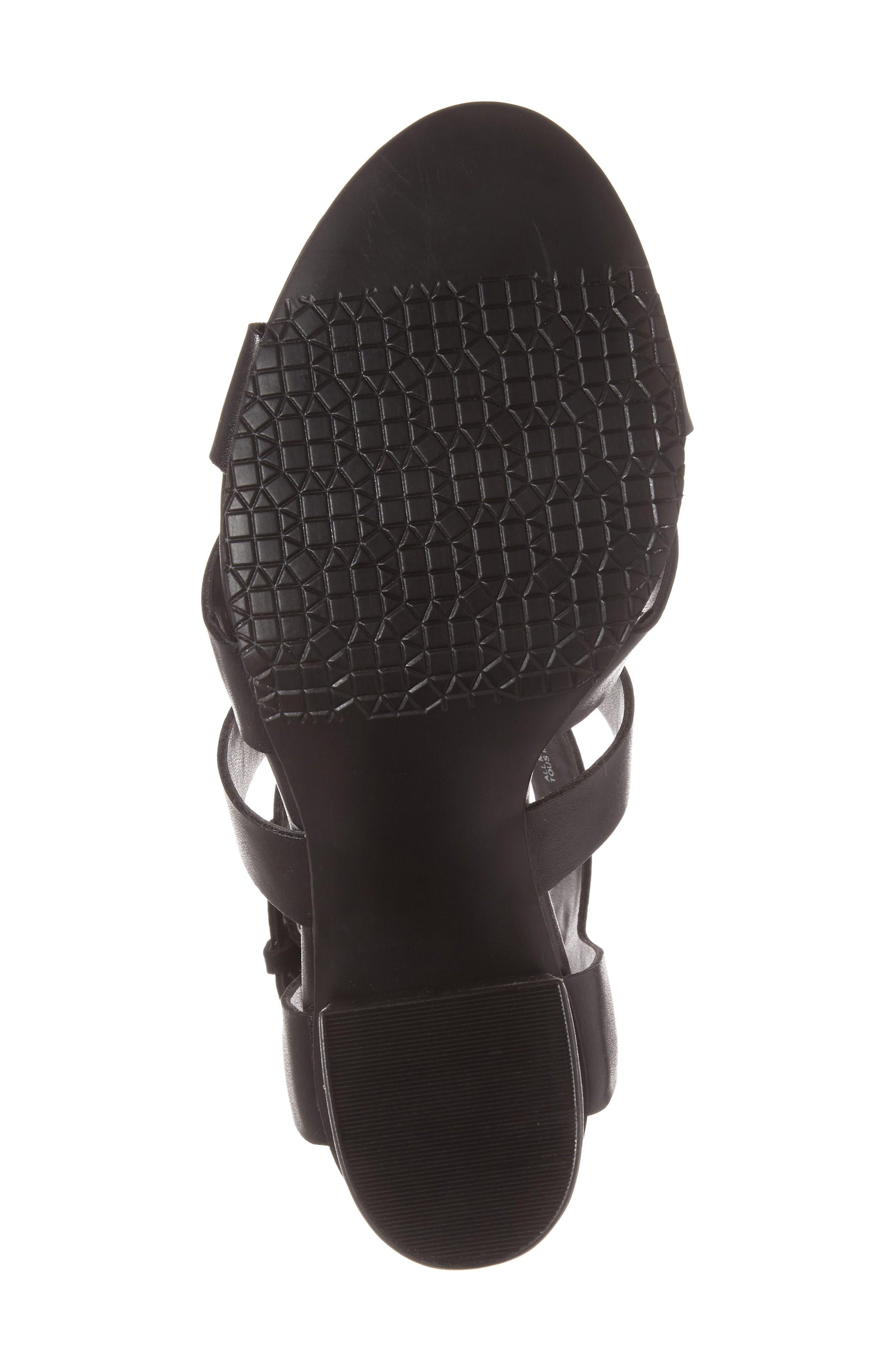Terry Block Heel Sandal,                             Alternate thumbnail 4, color,                             Black Faux Leather