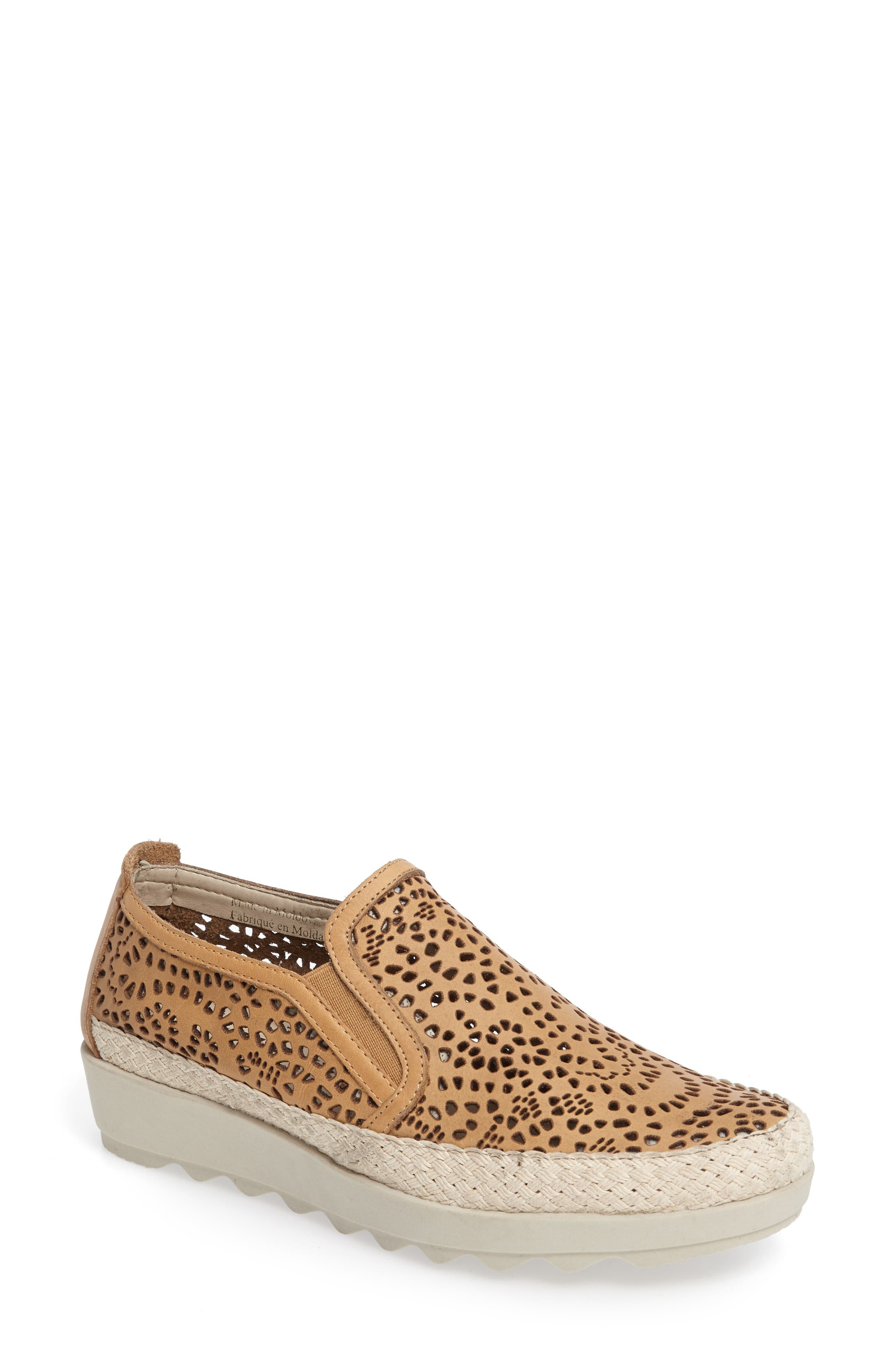 Call Me Perforated Slip-On Sneaker,                             Main thumbnail 1, color,                             Camel Leather