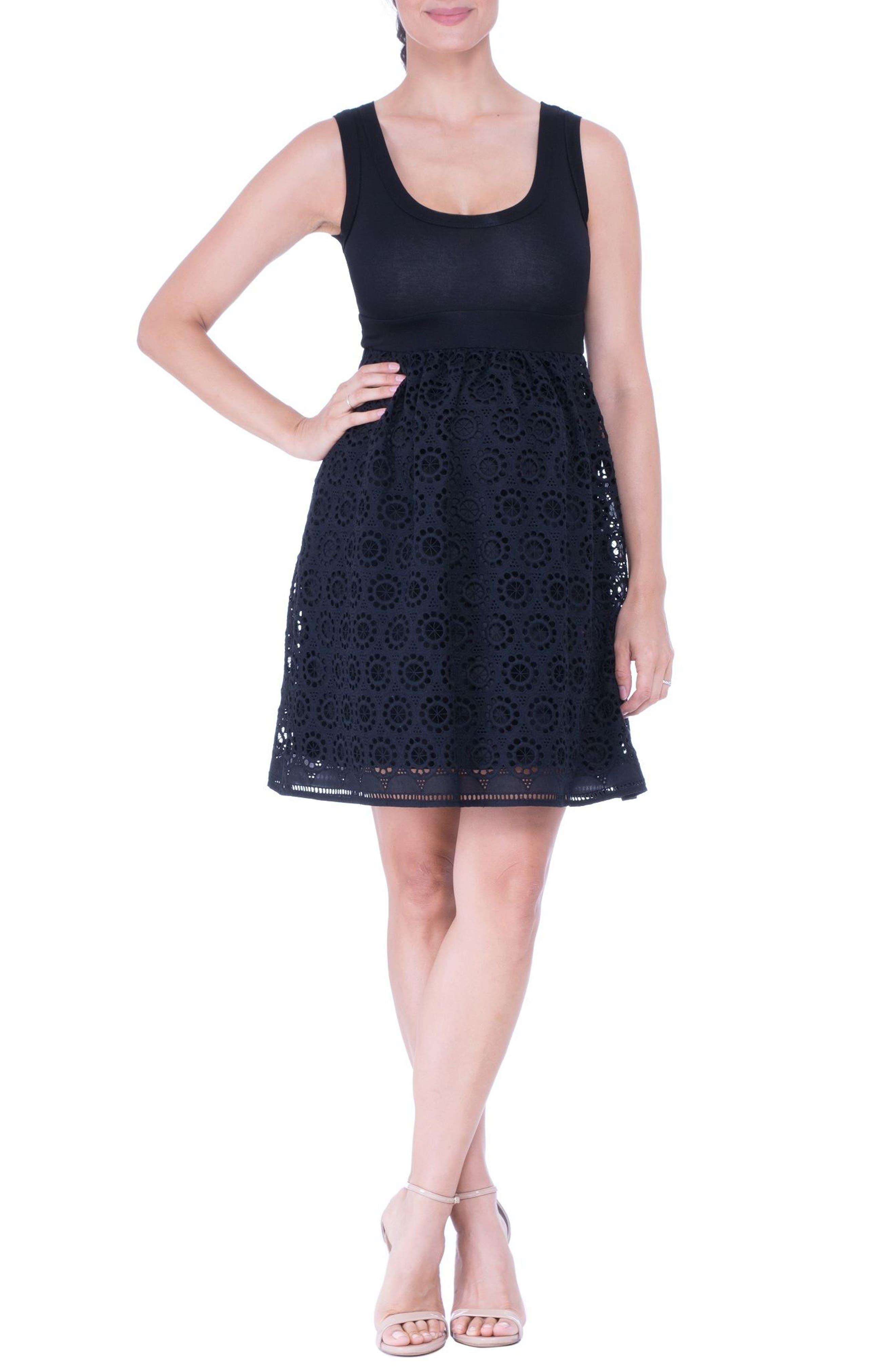 Crochet Maternity Dress,                         Main,                         color, Black