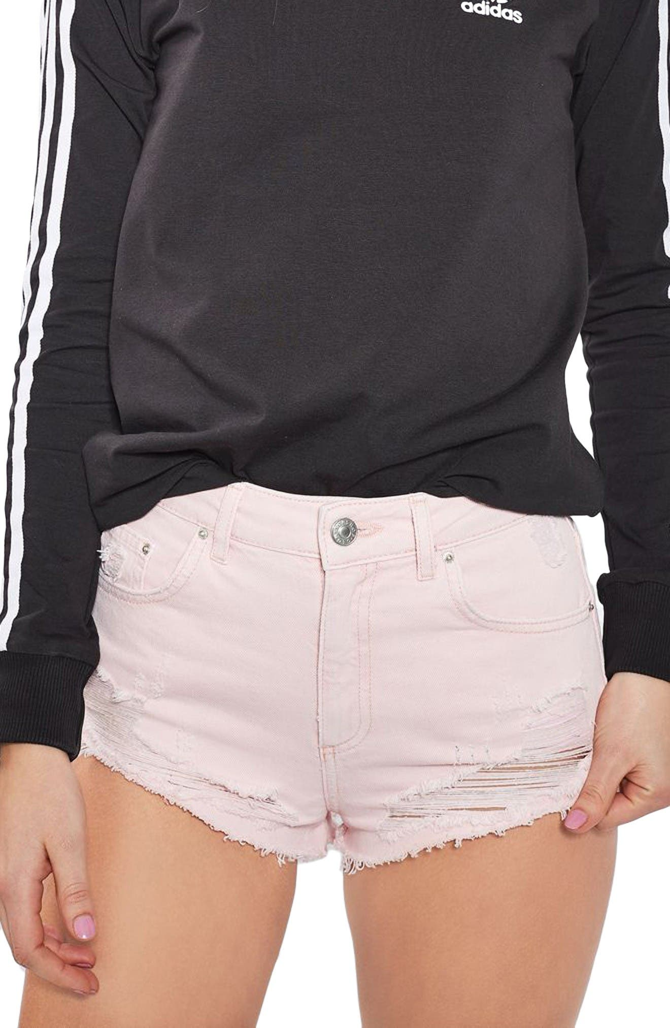 Main Image - Topshop Ripped Mini Denim Shorts (Regular & Petite)