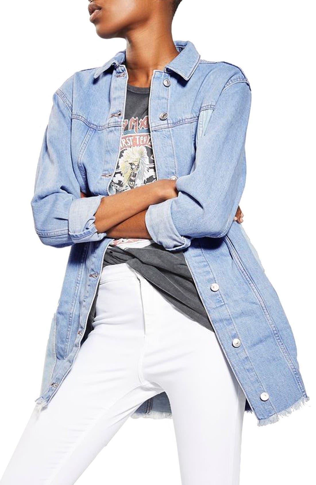 Main Image - Topshop Colorblock Denim Jacket